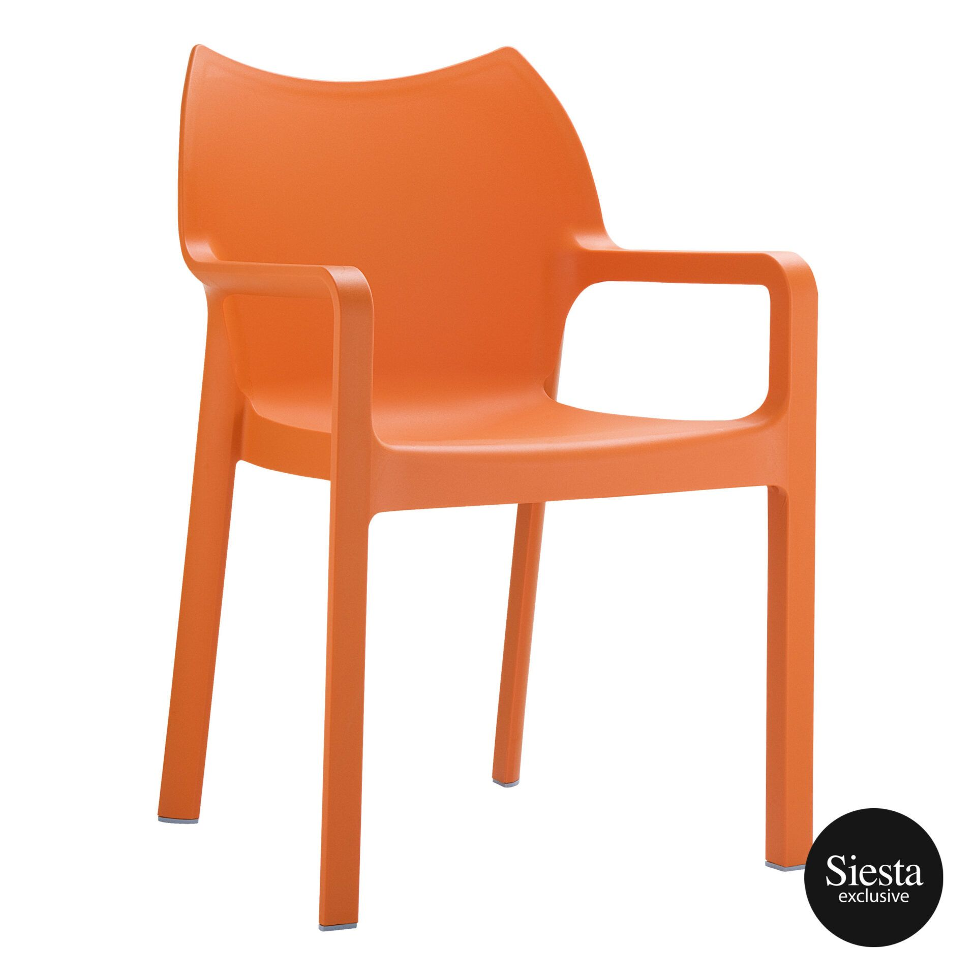 outdoor plastic seating diva chair orange front side 1