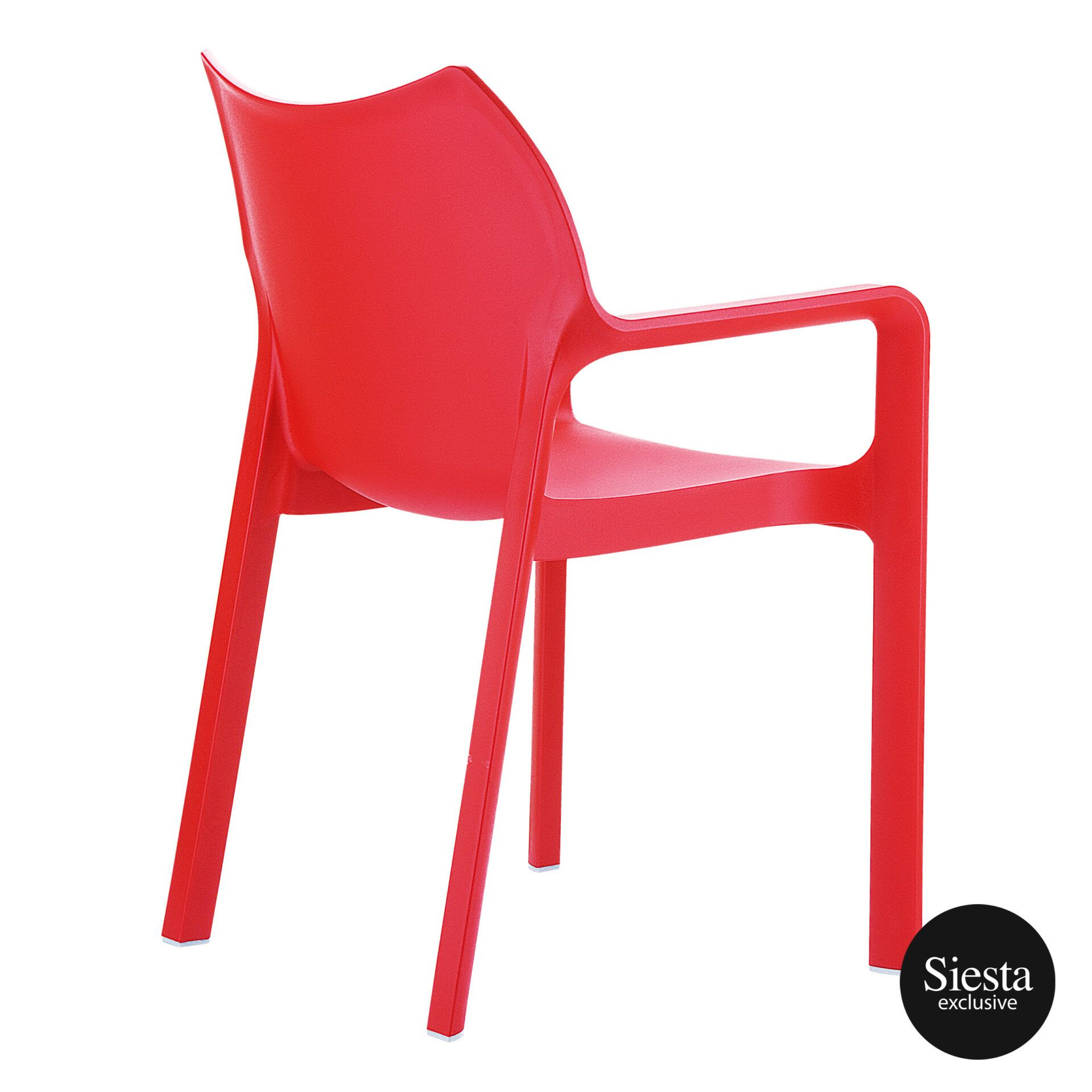 outdoor plastic seating diva chair red back side 1