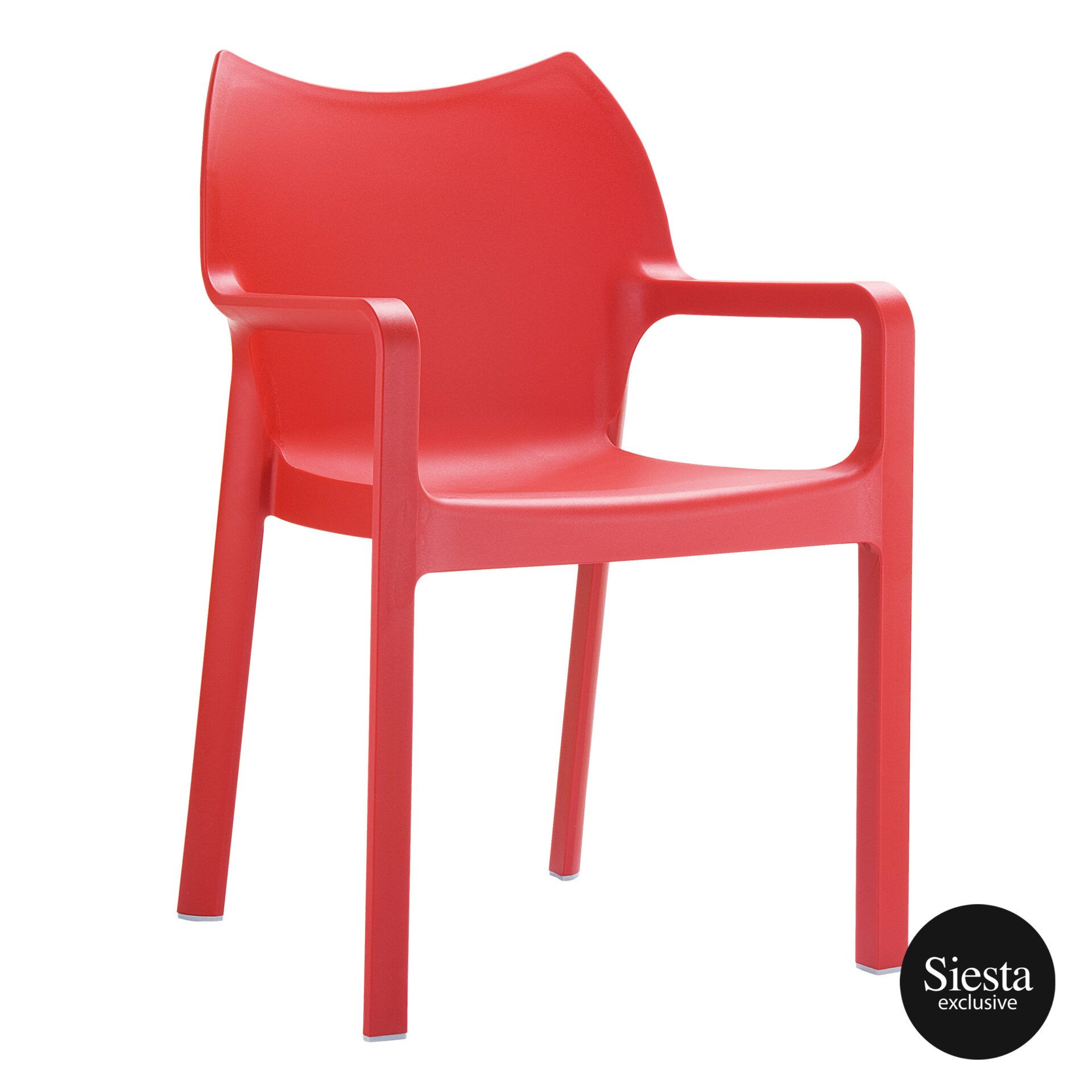 outdoor plastic seating diva chair red front side 1