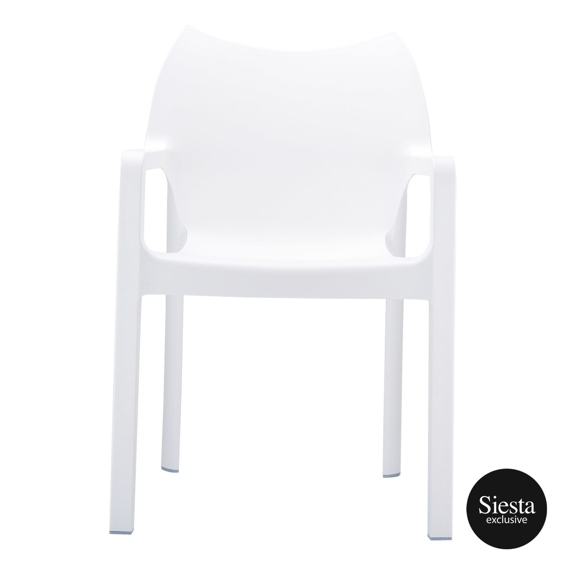 outdoor plastic seating diva chair white front 1
