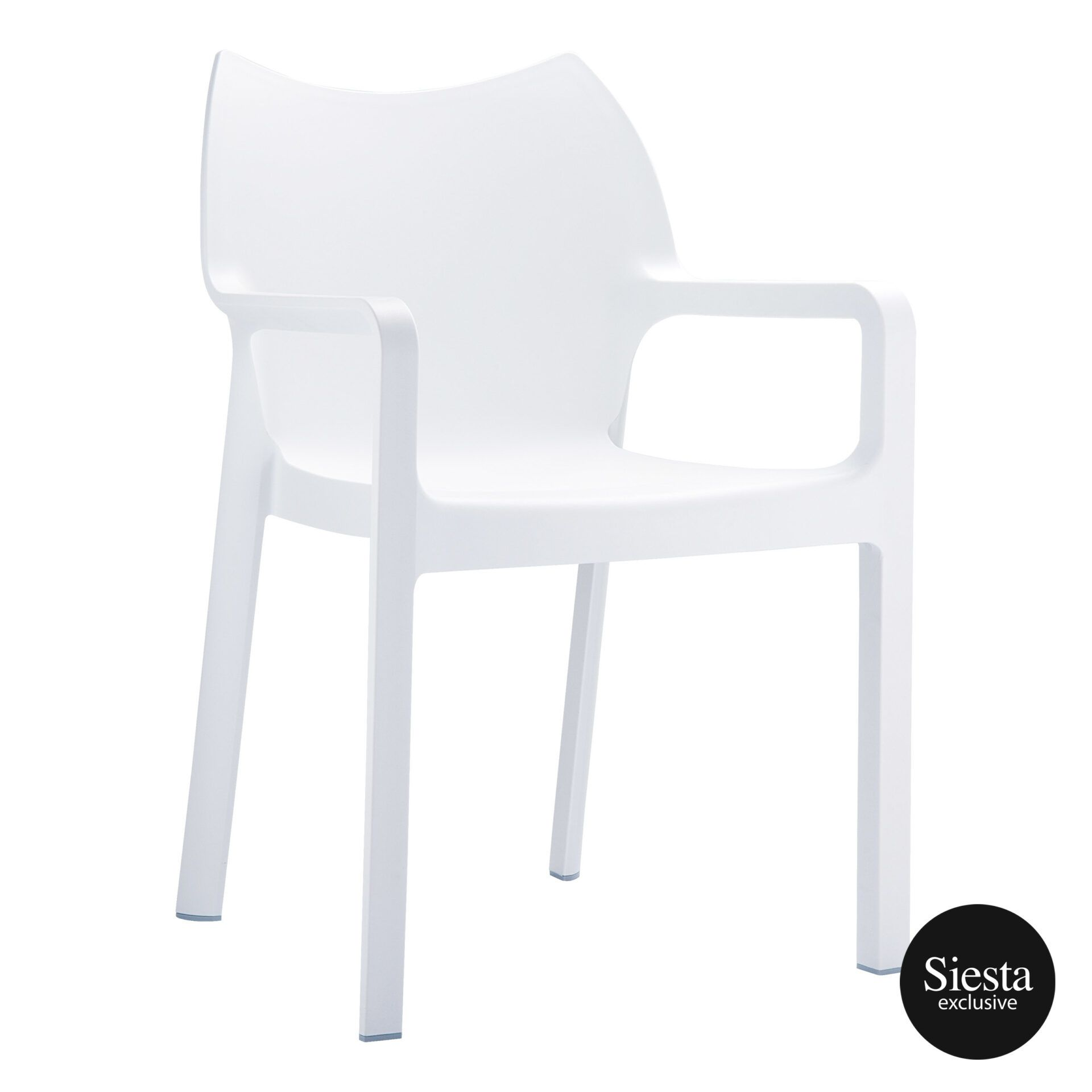outdoor plastic seating diva chair white front side 1