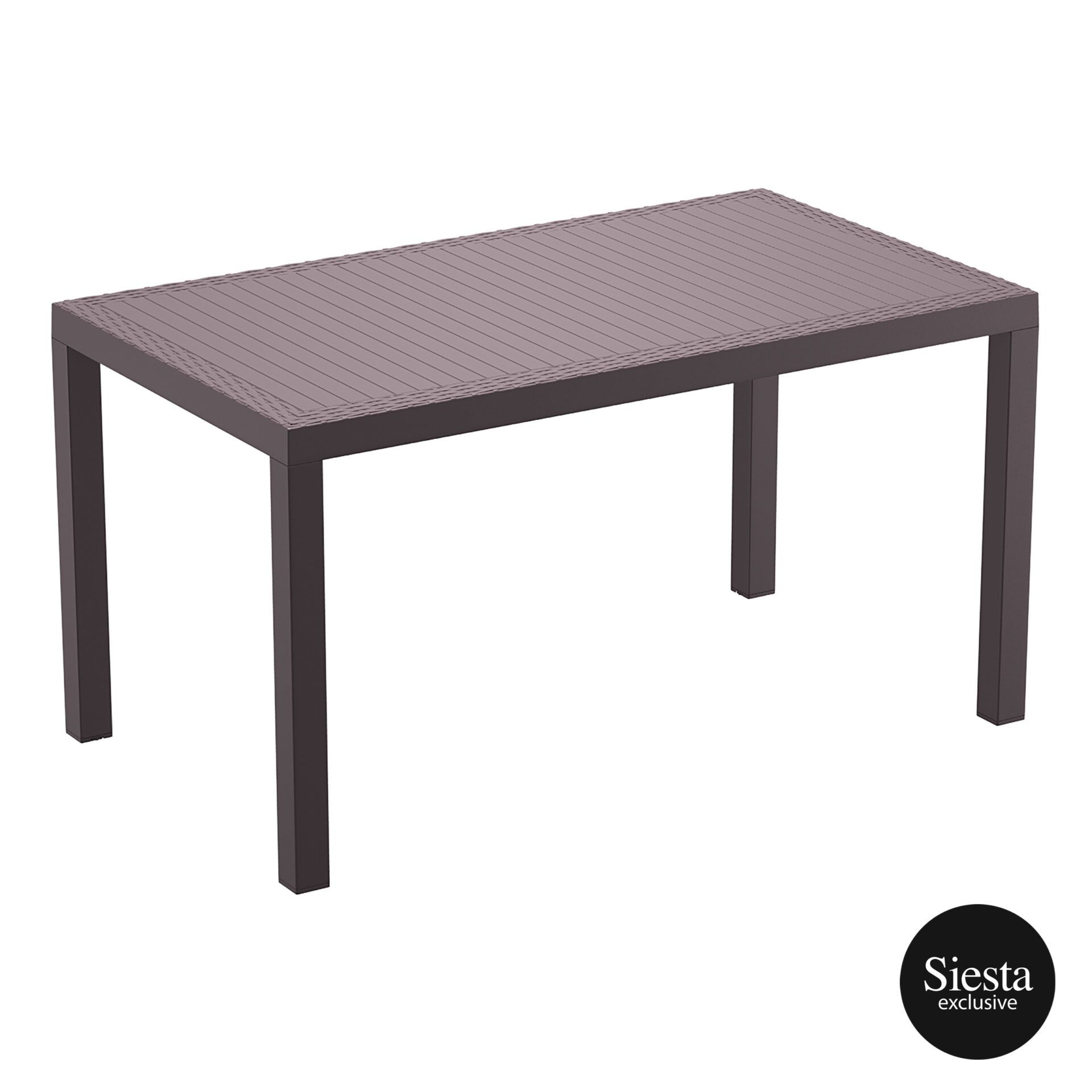 outdoor resin rattan cafe plastic top bali table 140 brown front side 1