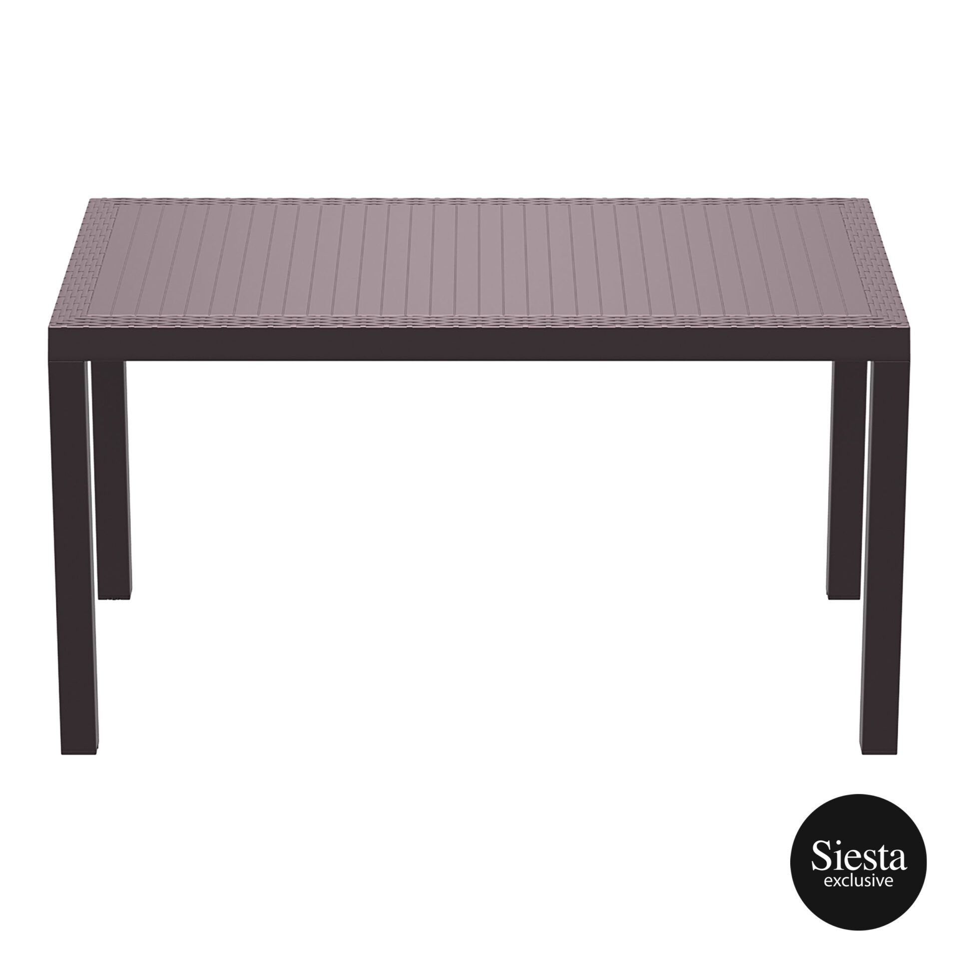 outdoor resin rattan cafe plastic top bali table 140 brown long edge 1