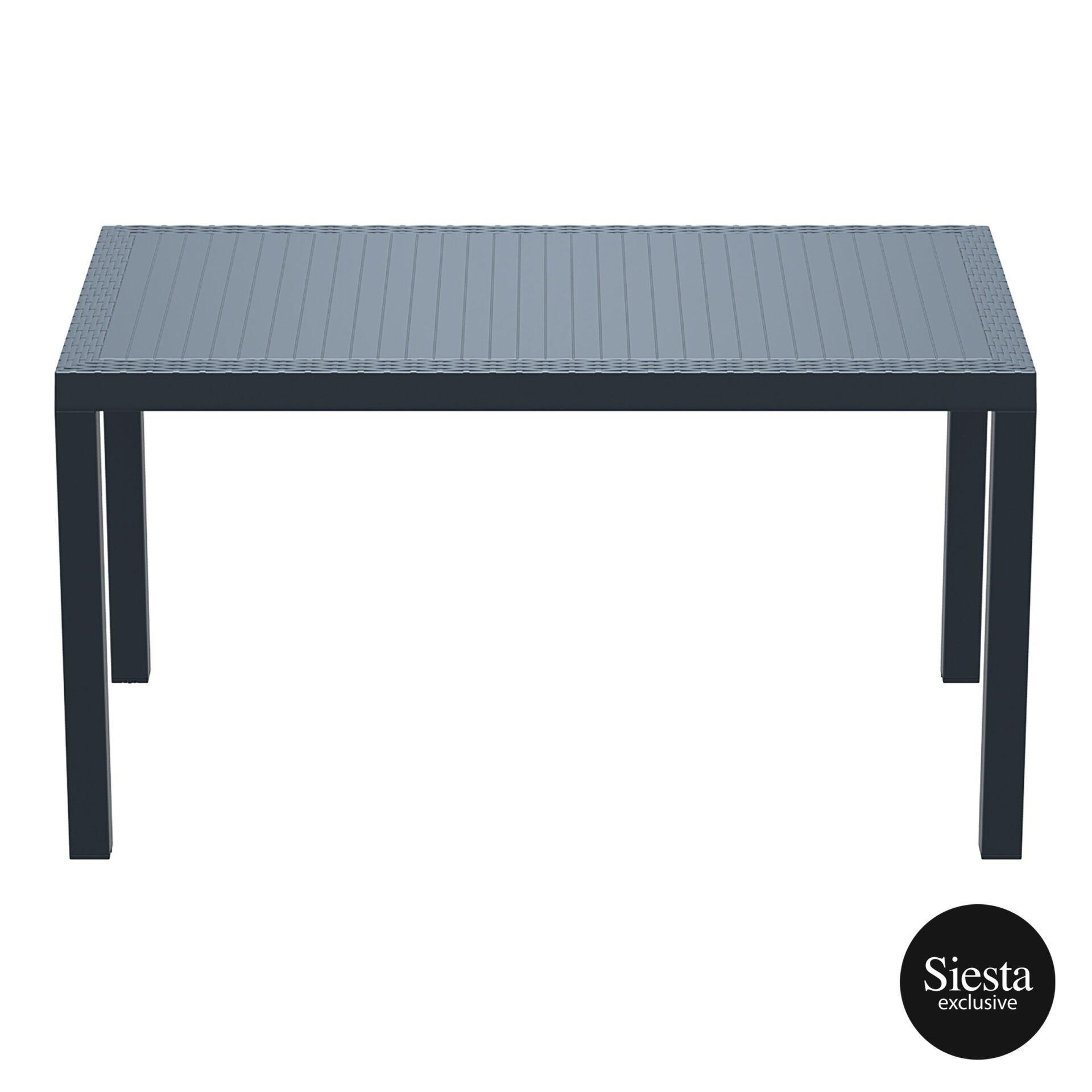 outdoor resin rattan cafe plastic top bali table 140 darkgrey long edge 1