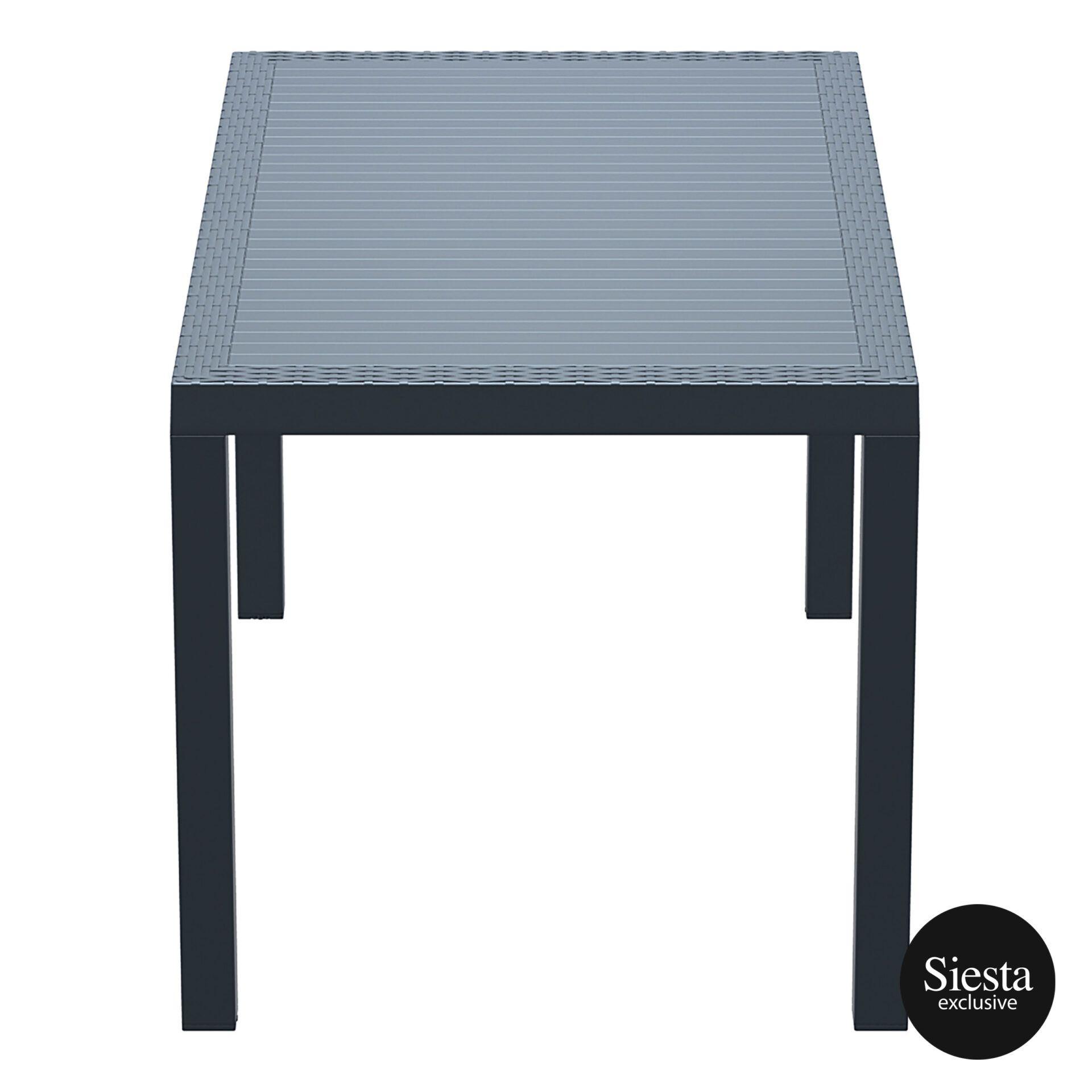 outdoor resin rattan cafe plastic top bali table 140 darkgrey short edge 1