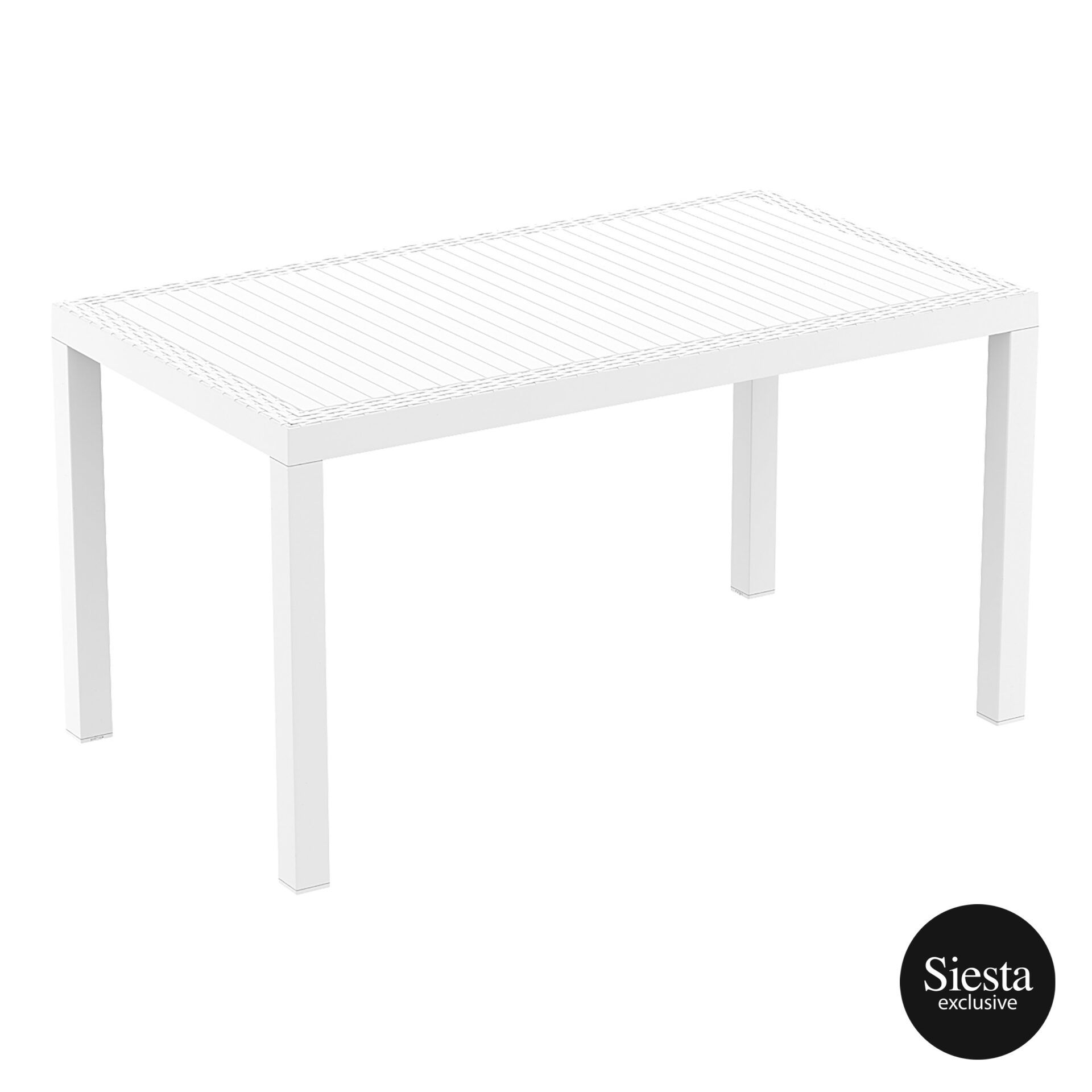outdoor resin rattan cafe plastic top bali table 140 white front side 1