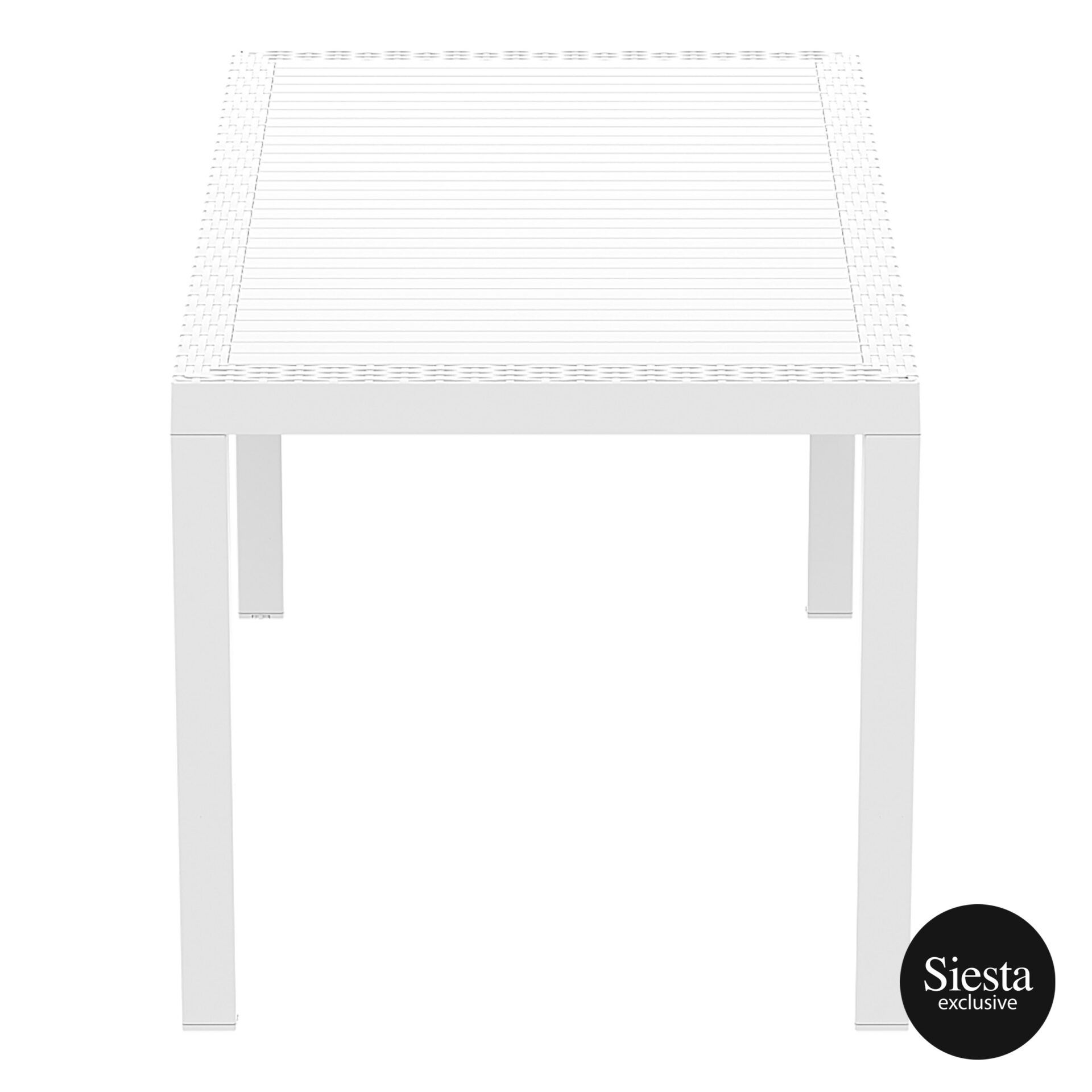 outdoor resin rattan cafe plastic top bali table 140 white short edge 1