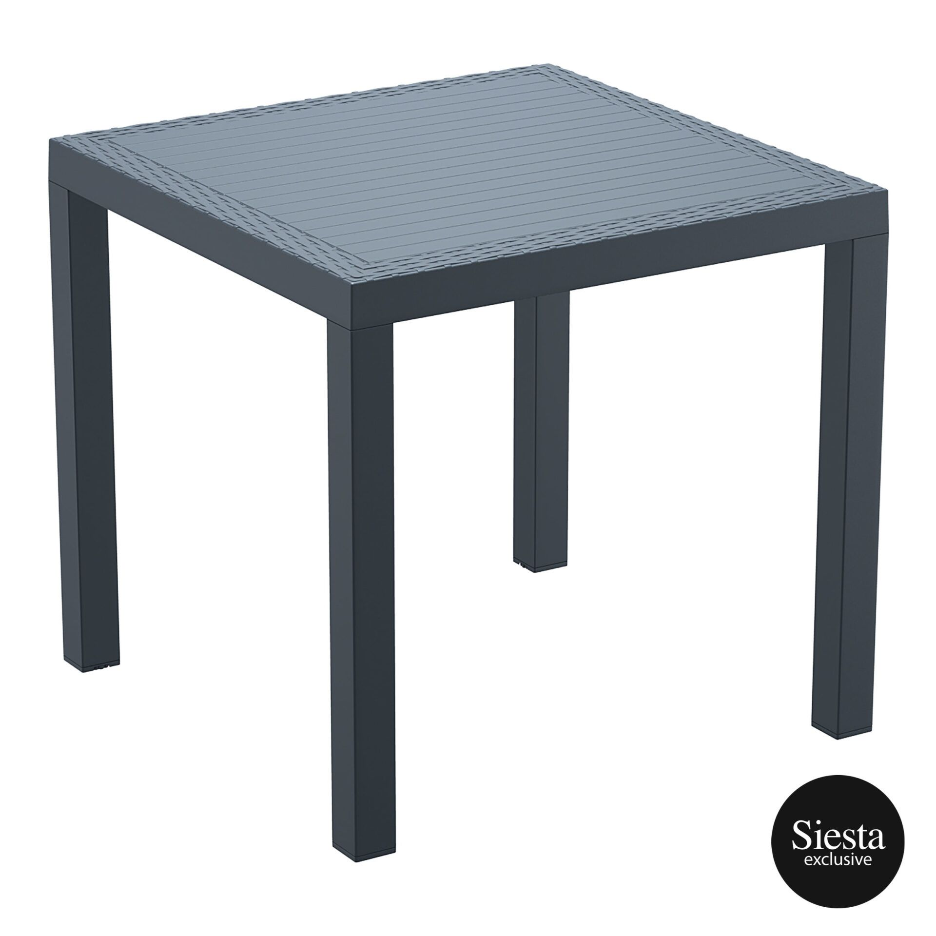 outdoor resin rattan cafe plastic top bali table 80 darkgrey front side 2