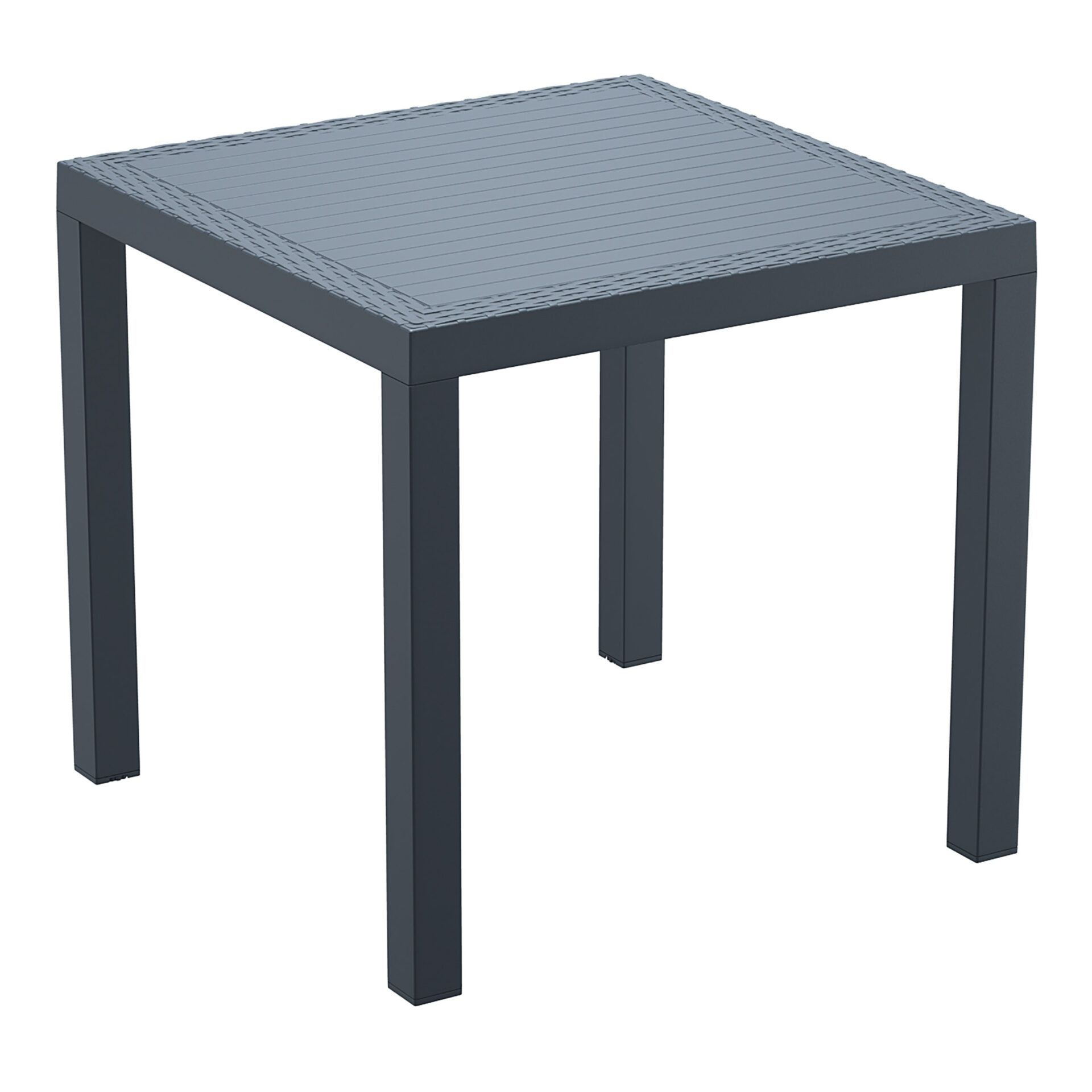 outdoor resin rattan cafe plastic top bali table 80 darkgrey front side