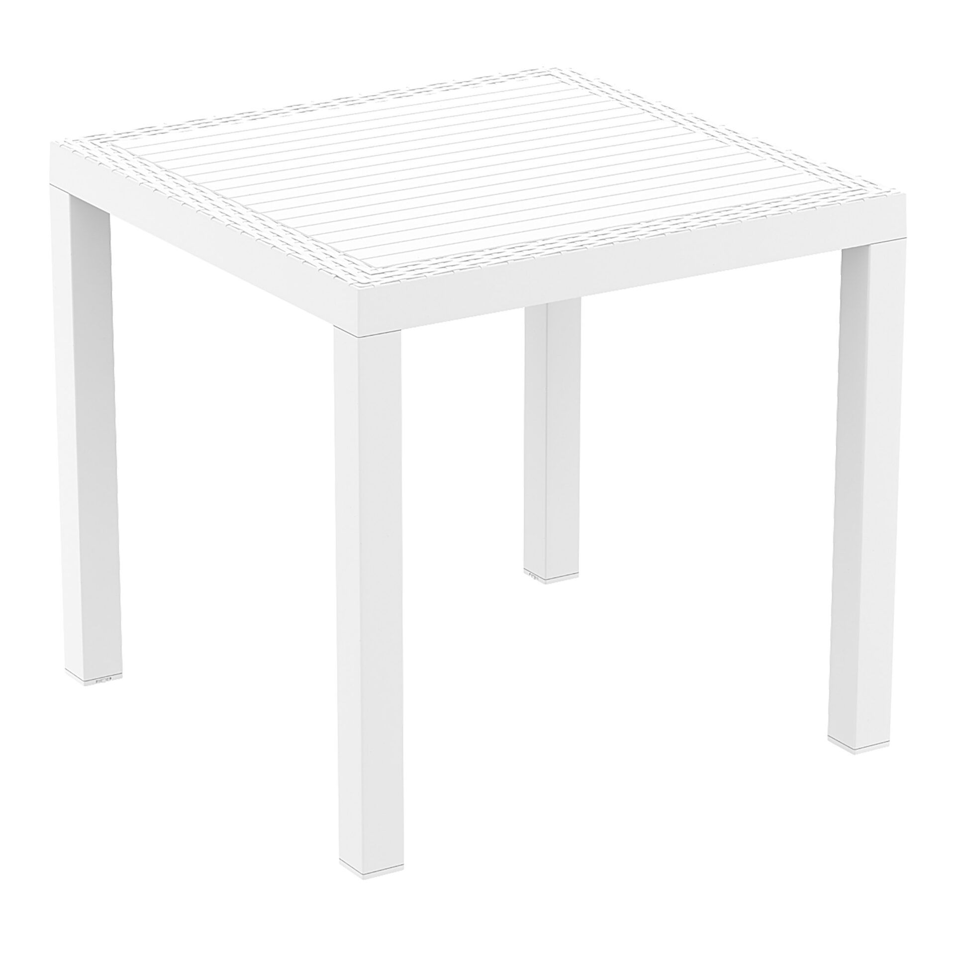 outdoor resin rattan cafe plastic top bali table 80 white front side