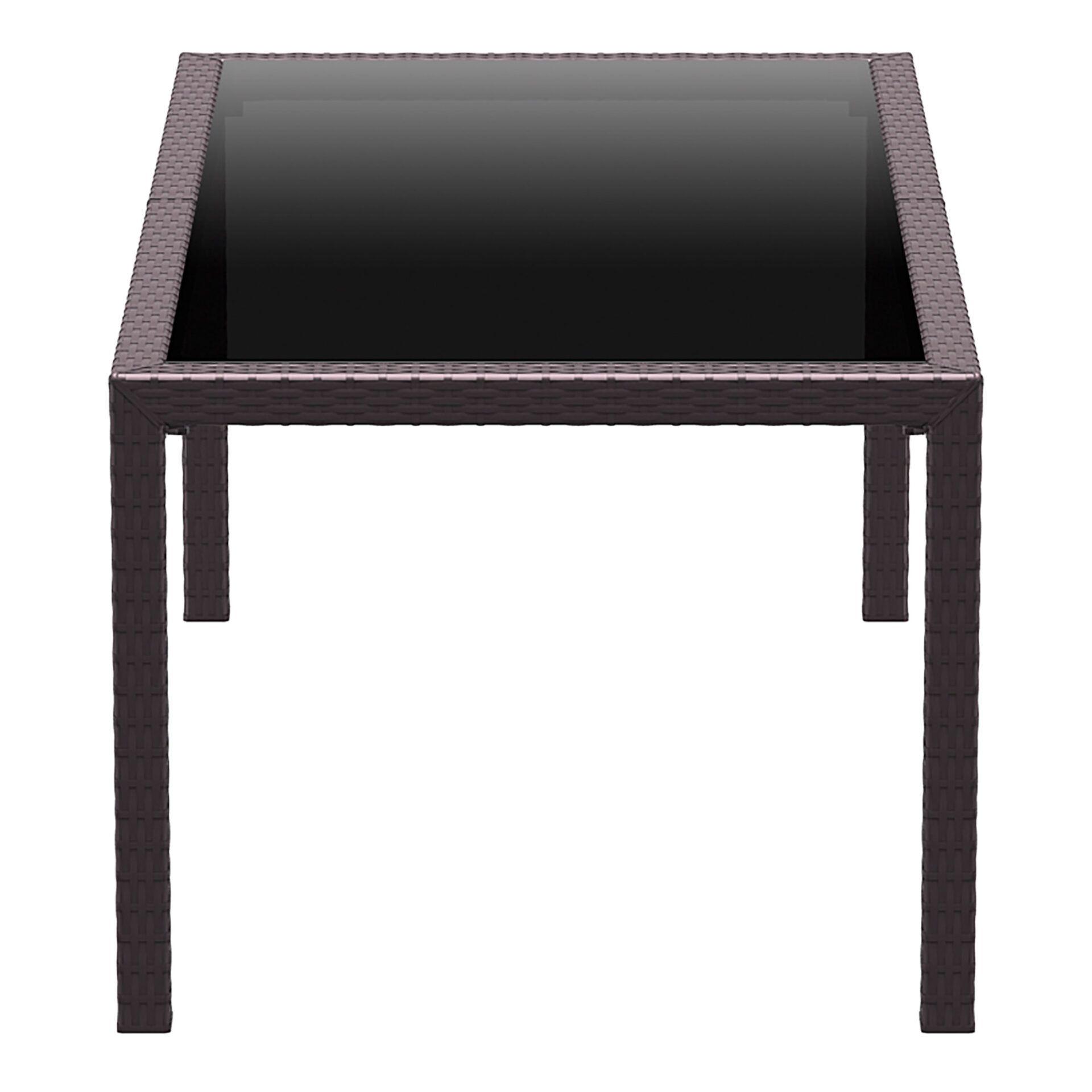 outdoor resin rattan dining glass top tahiti table brown short edge