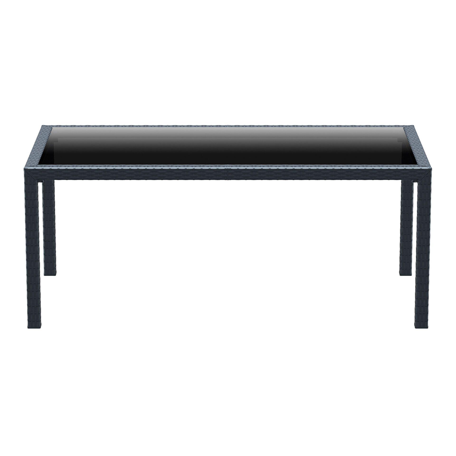 outdoor resin rattan dining glass top tahiti table darkgrey long edge