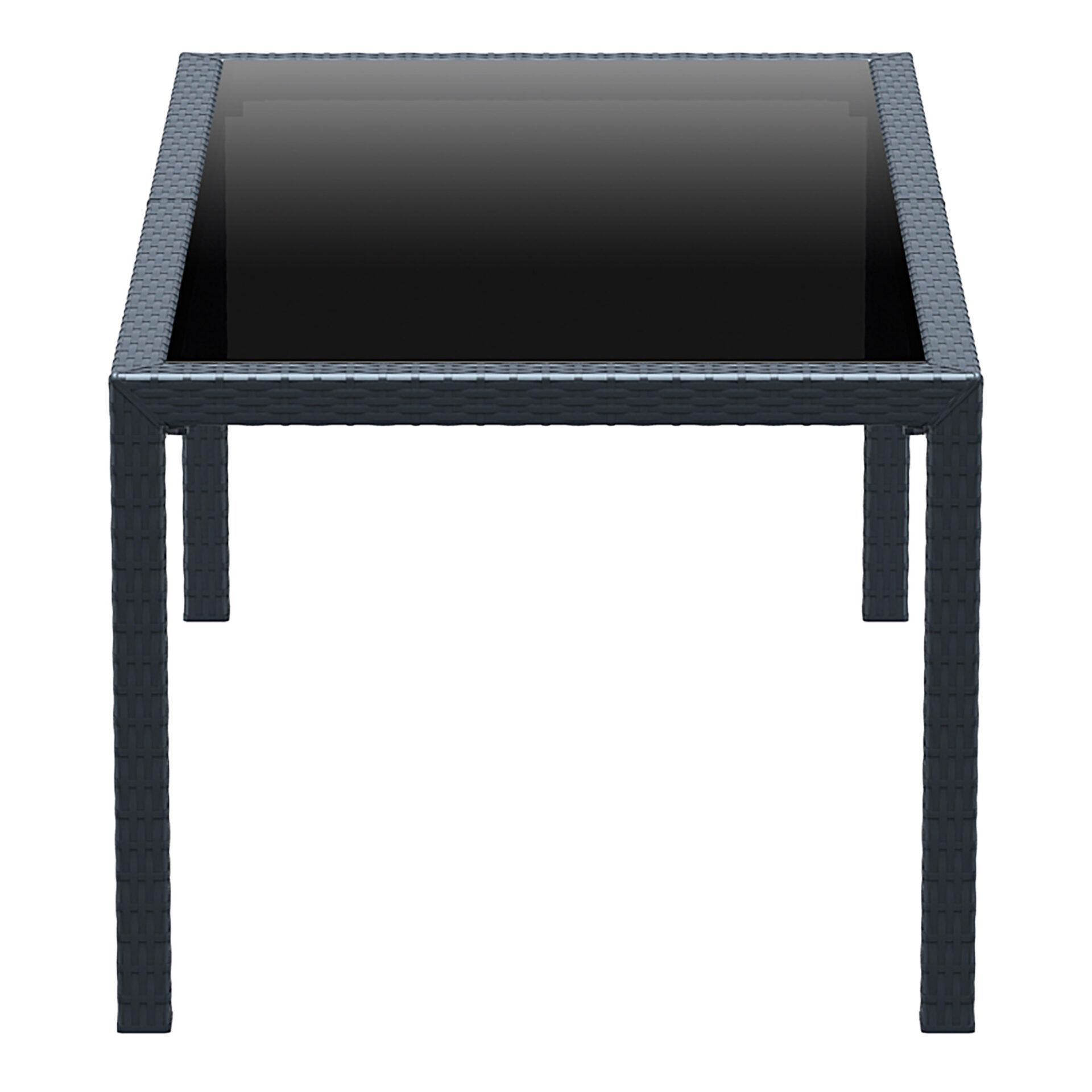 outdoor resin rattan dining glass top tahiti table darkgrey short edge