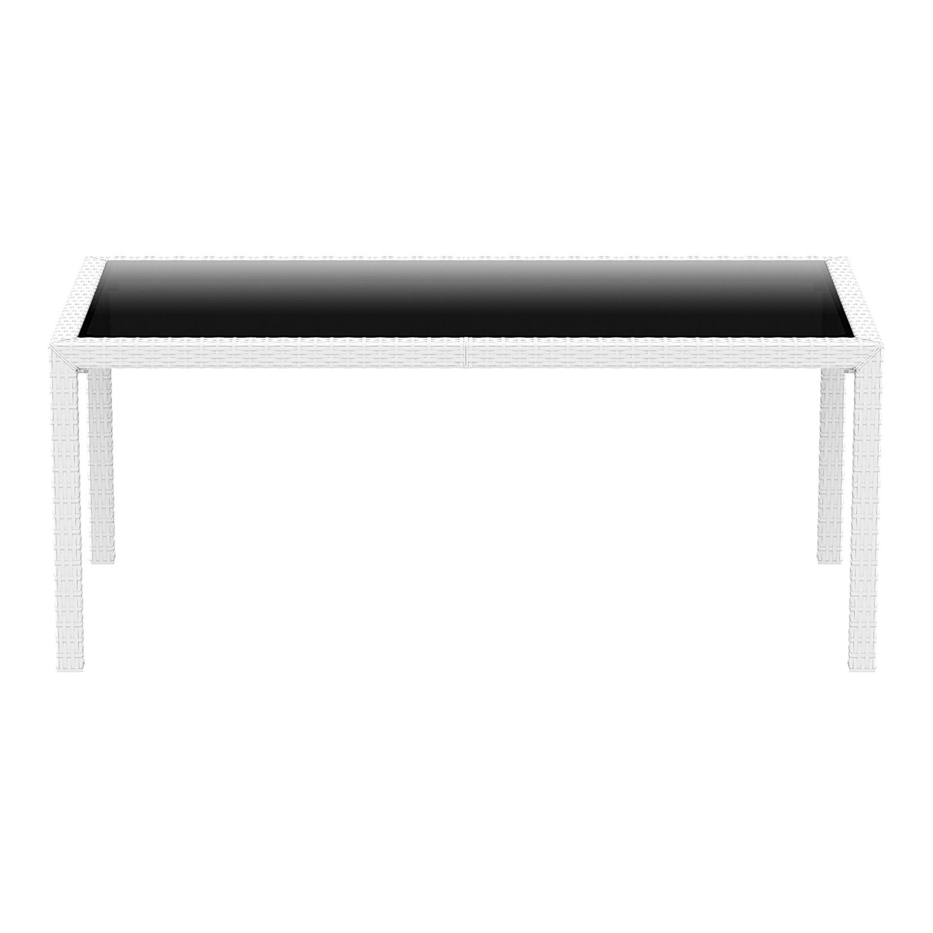 outdoor resin rattan dining glass top tahiti table white long edge