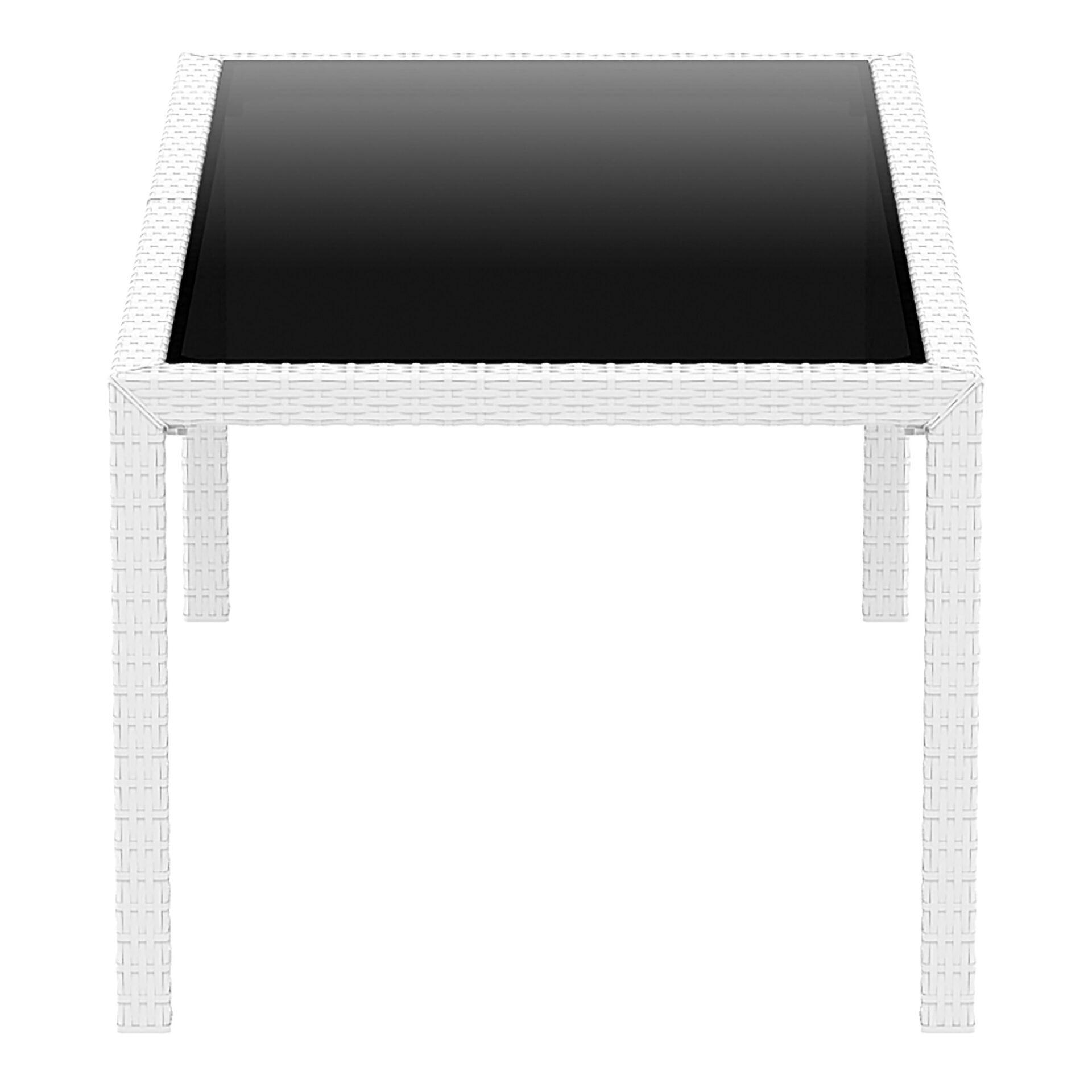outdoor resin rattan dining glass top tahiti table white short edge