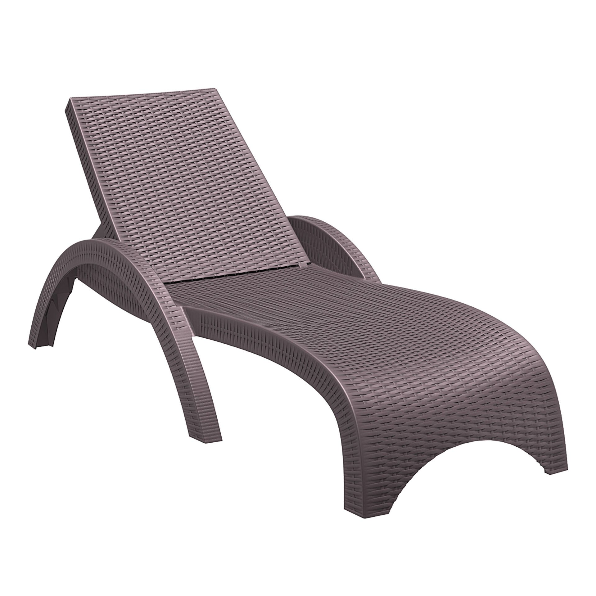 outdoor resin rattan fiji sunlounger brown front side