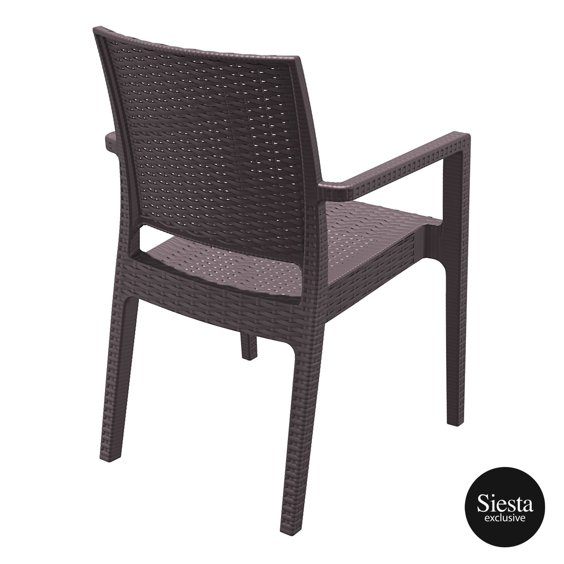 outdoor seating resin rattan ibiza armchair brown back side 1