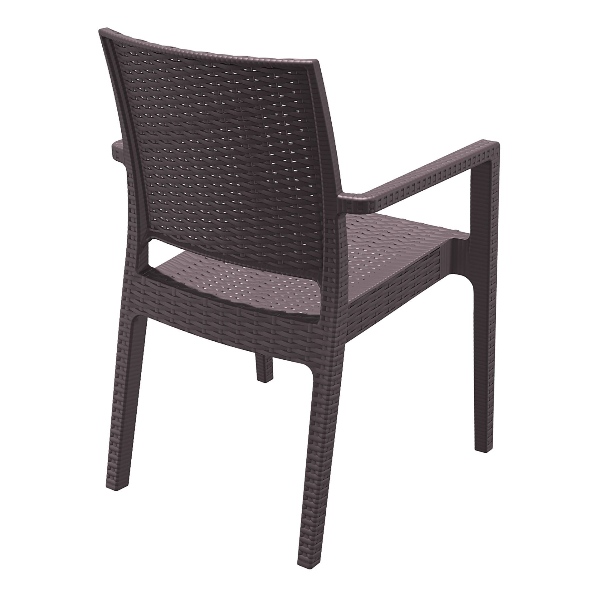 outdoor seating resin rattan ibiza armchair brown back side