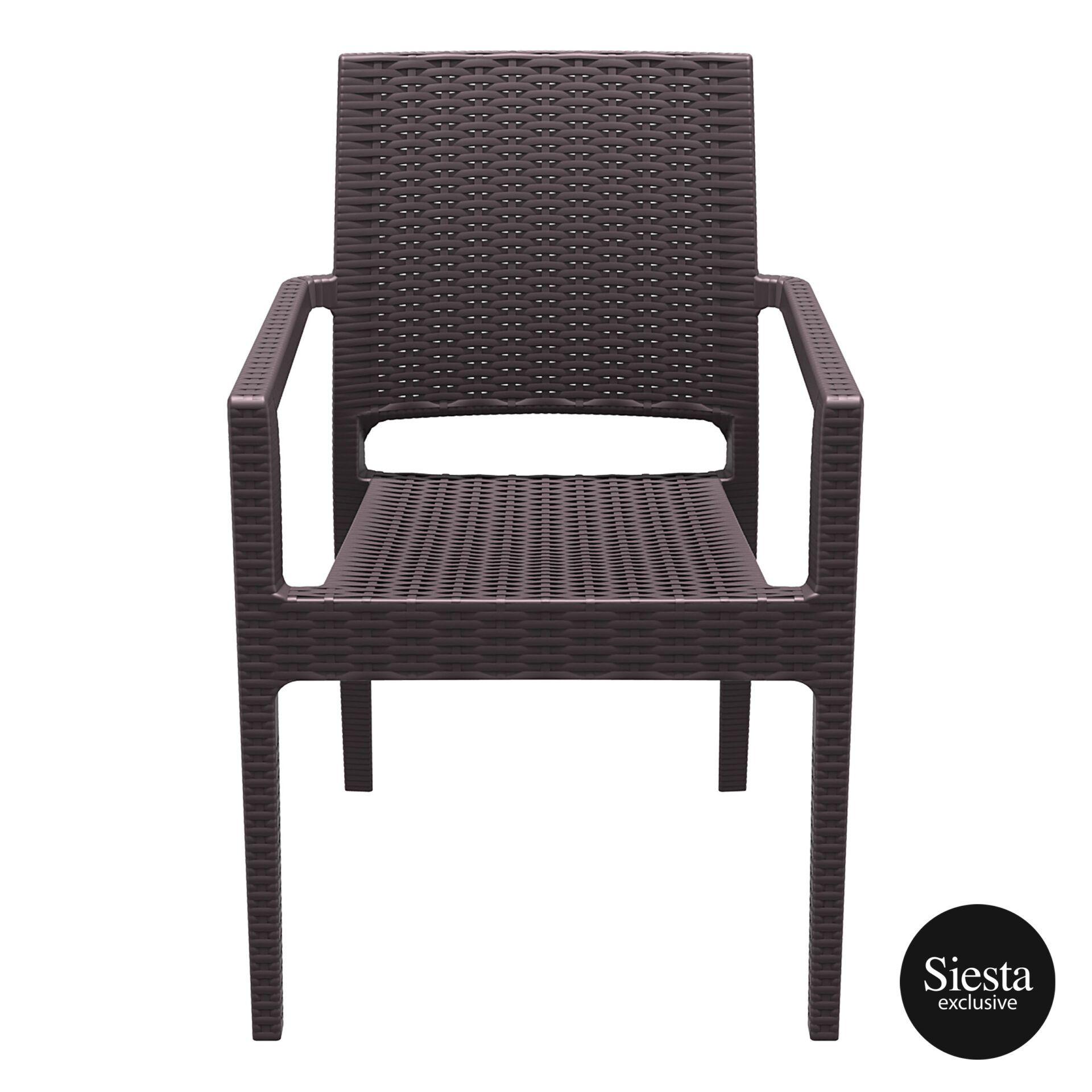outdoor seating resin rattan ibiza armchair brown front 1