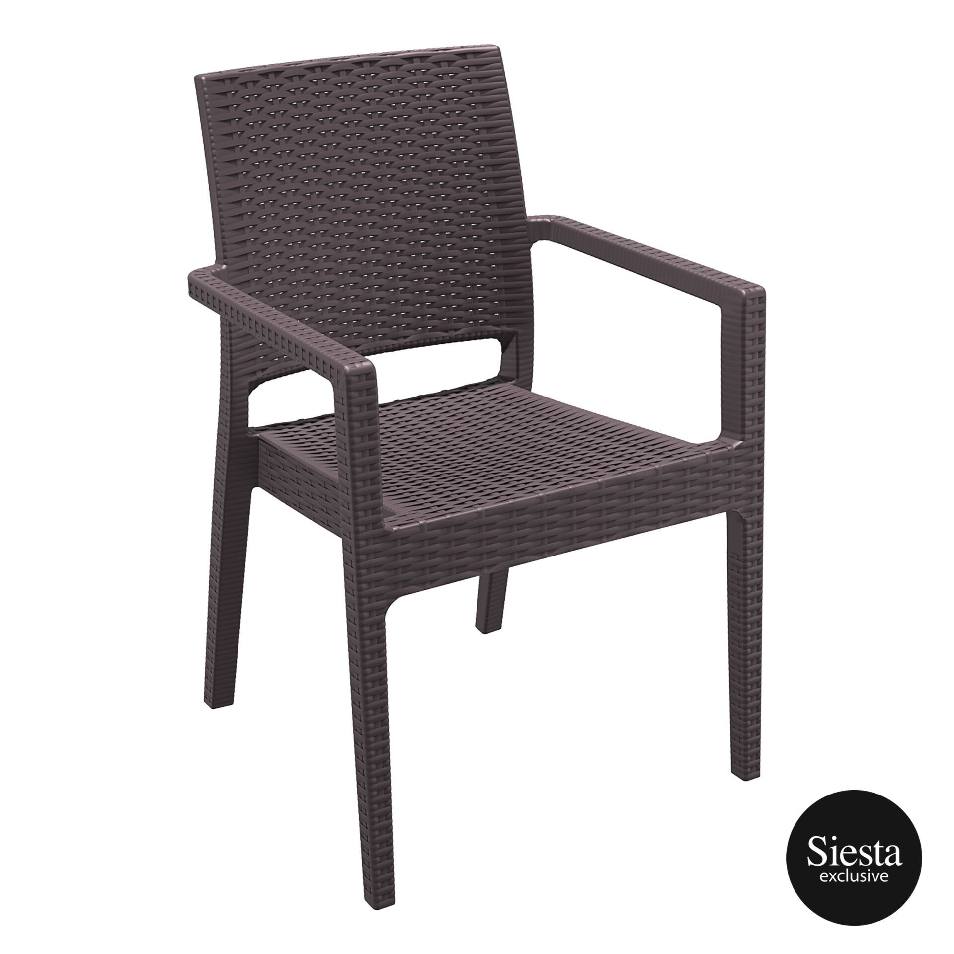 outdoor seating resin rattan ibiza armchair brown front side 1