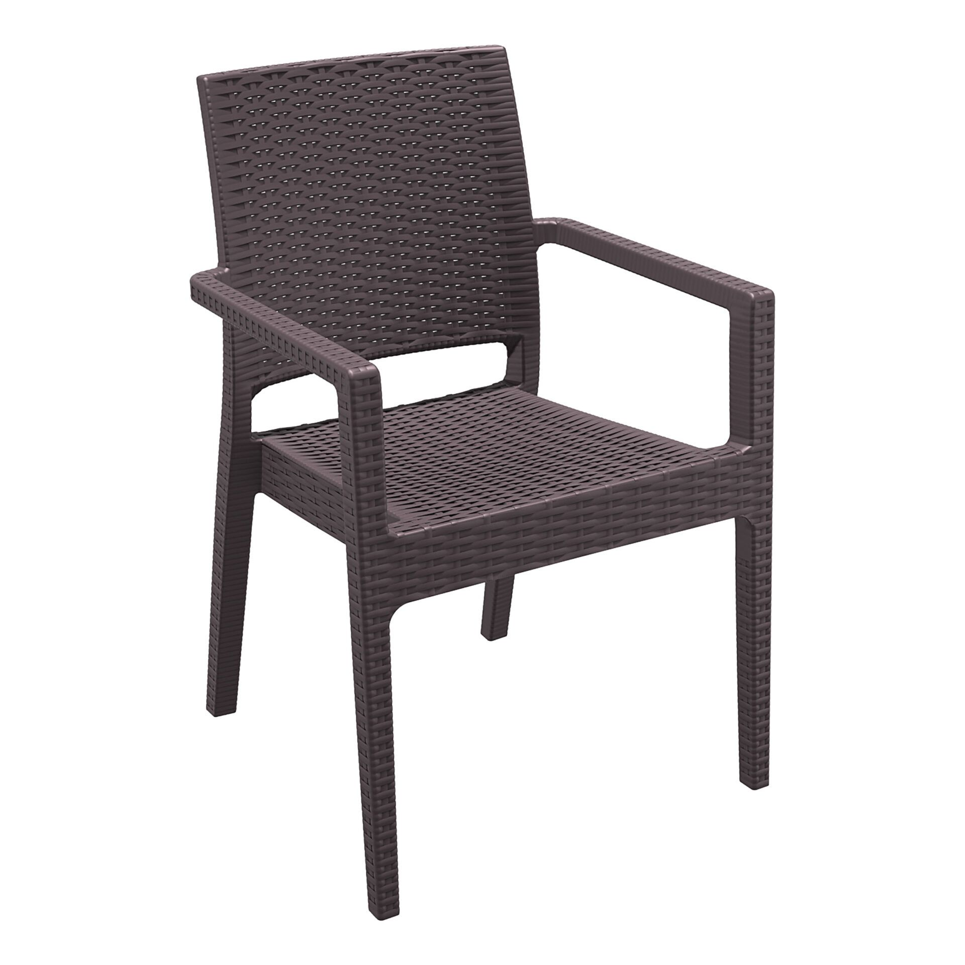 outdoor seating resin rattan ibiza armchair brown front side
