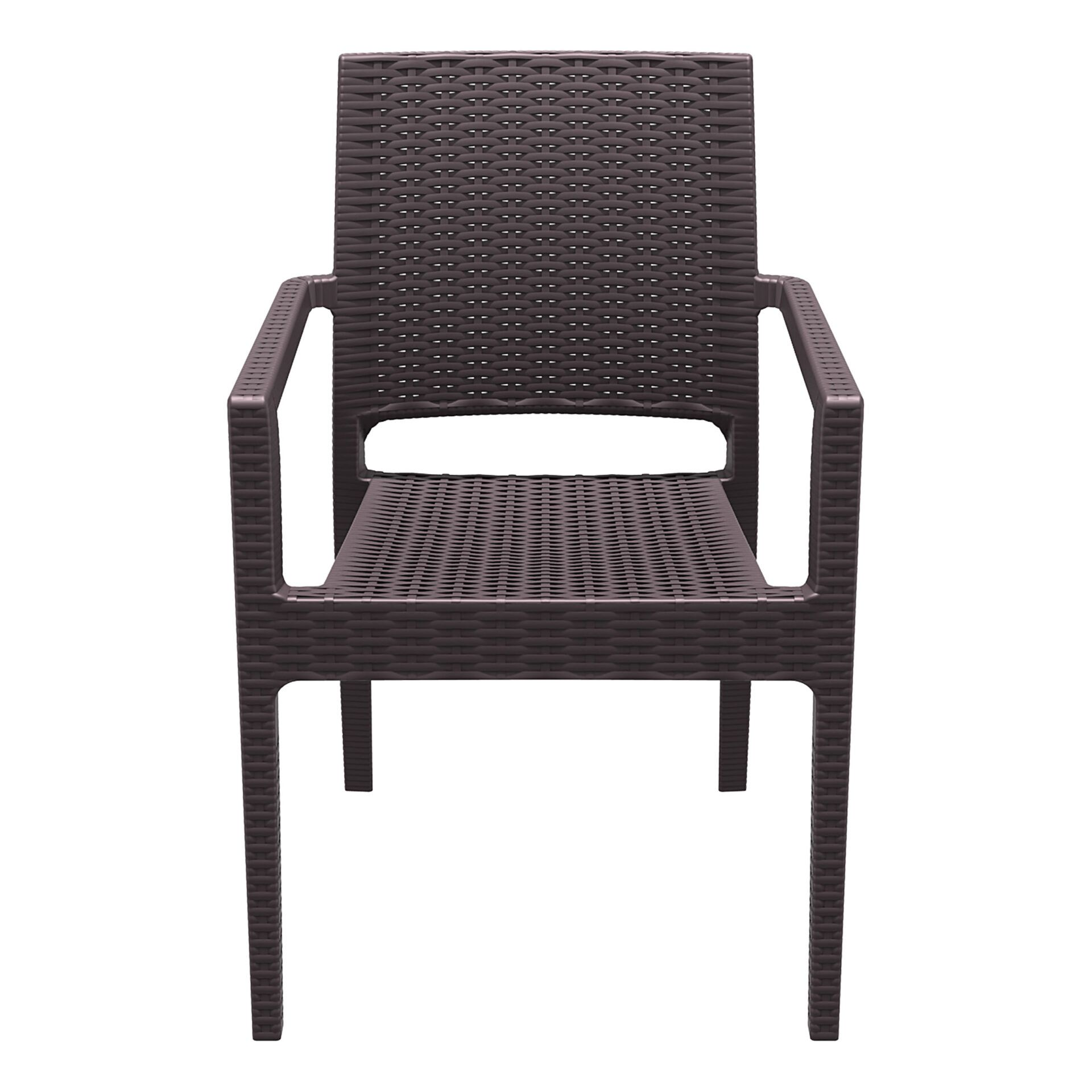 outdoor seating resin rattan ibiza armchair brown front