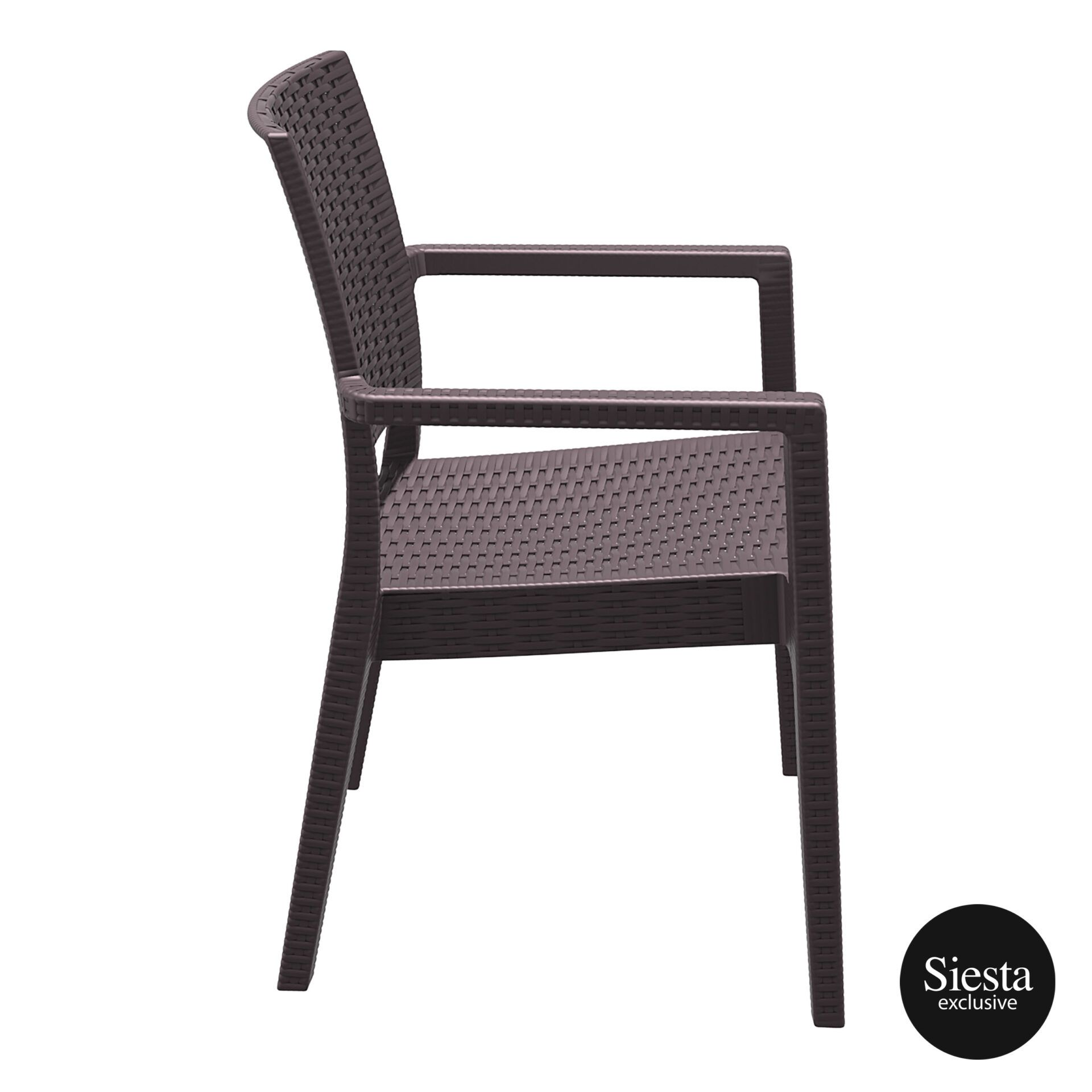 outdoor seating resin rattan ibiza armchair brown side 1
