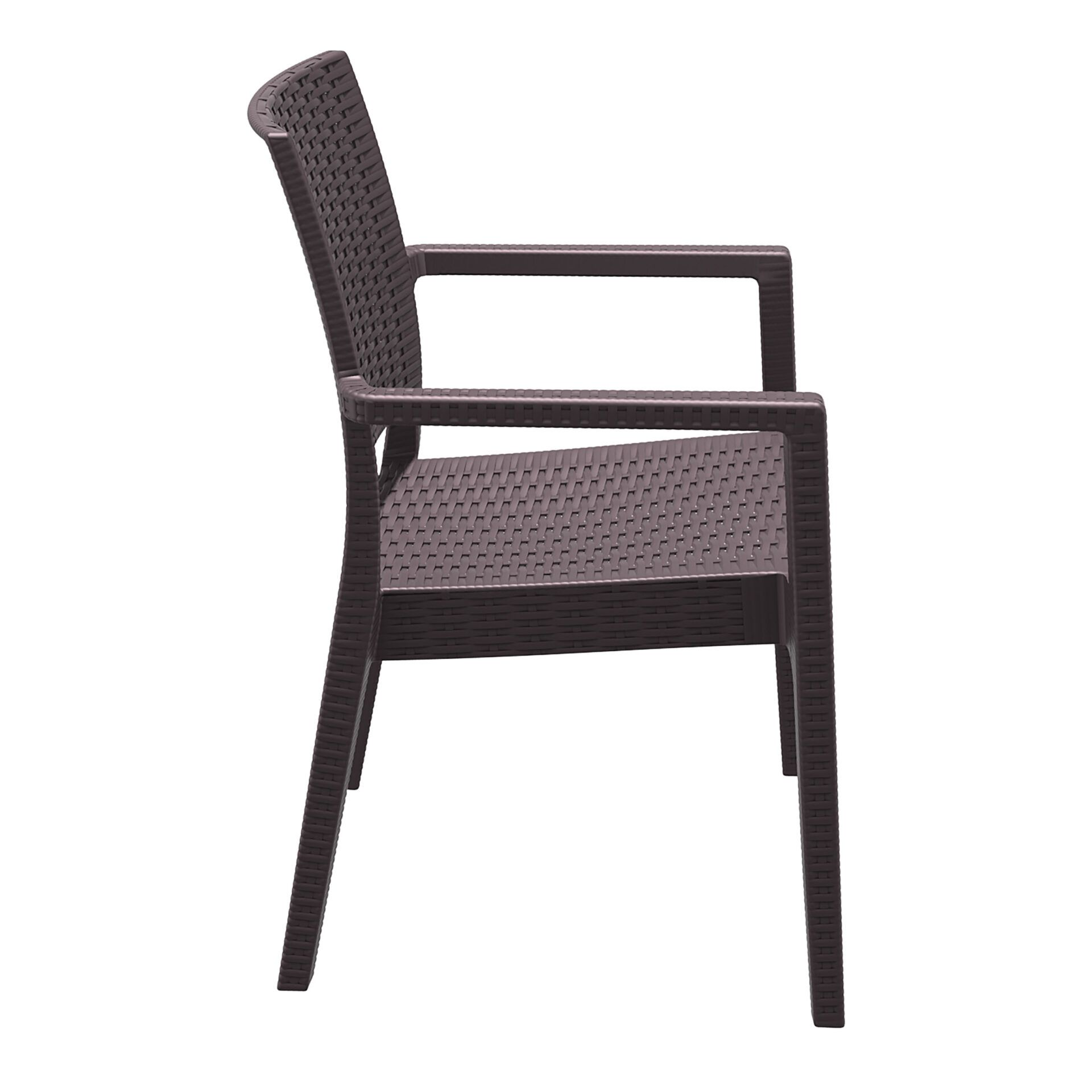 outdoor seating resin rattan ibiza armchair brown side