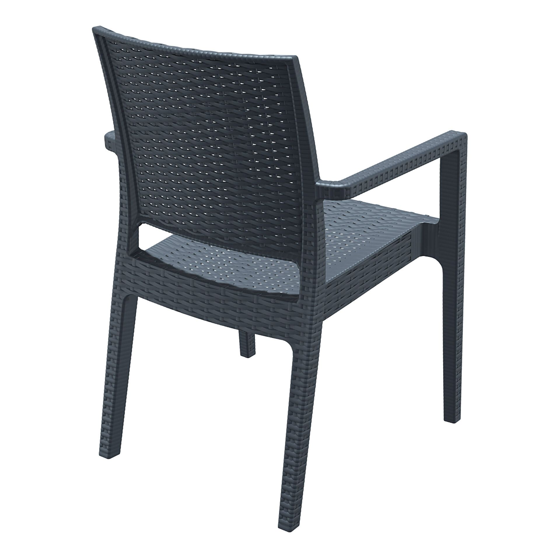 outdoor seating resin rattan ibiza armchair darkgrey back side