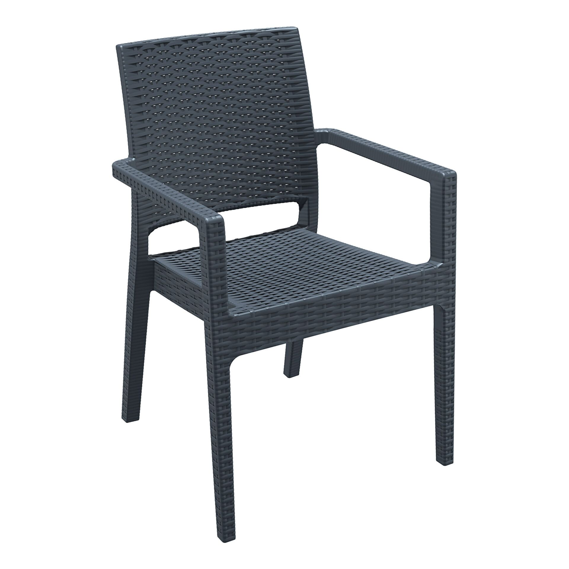 outdoor seating resin rattan ibiza armchair darkgrey front side