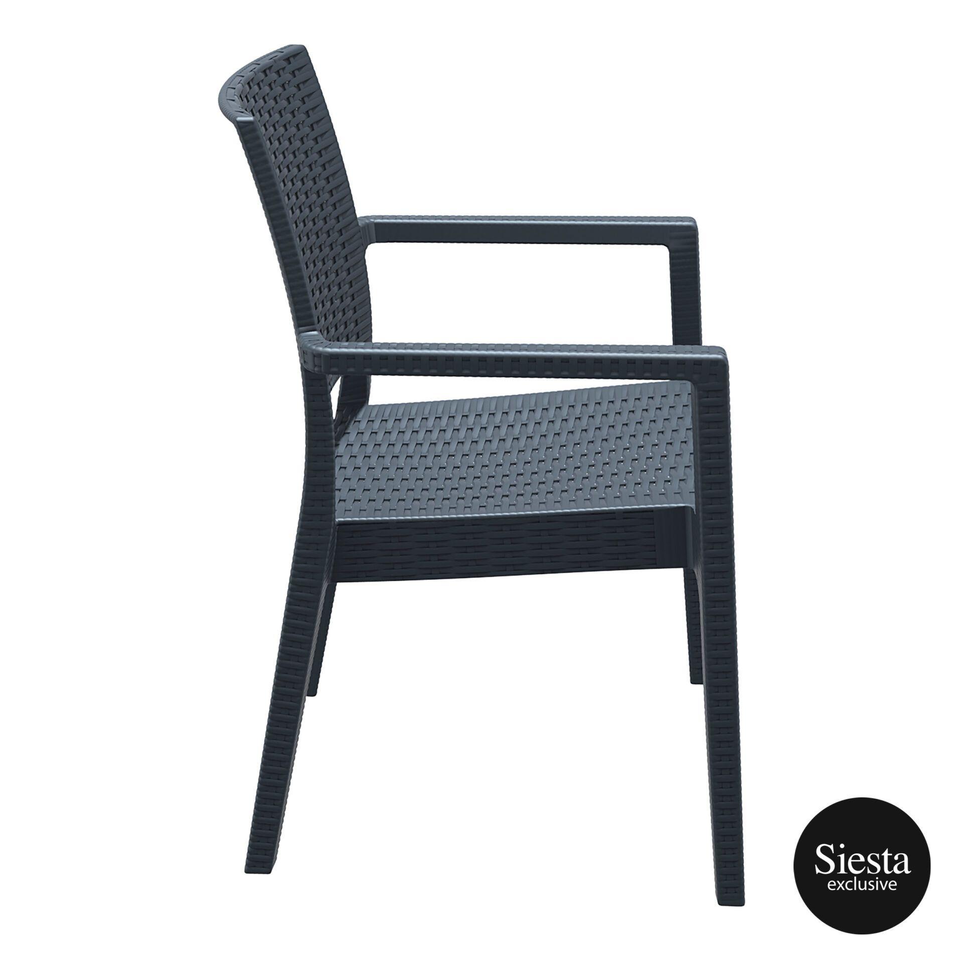 outdoor seating resin rattan ibiza armchair darkgrey side 1