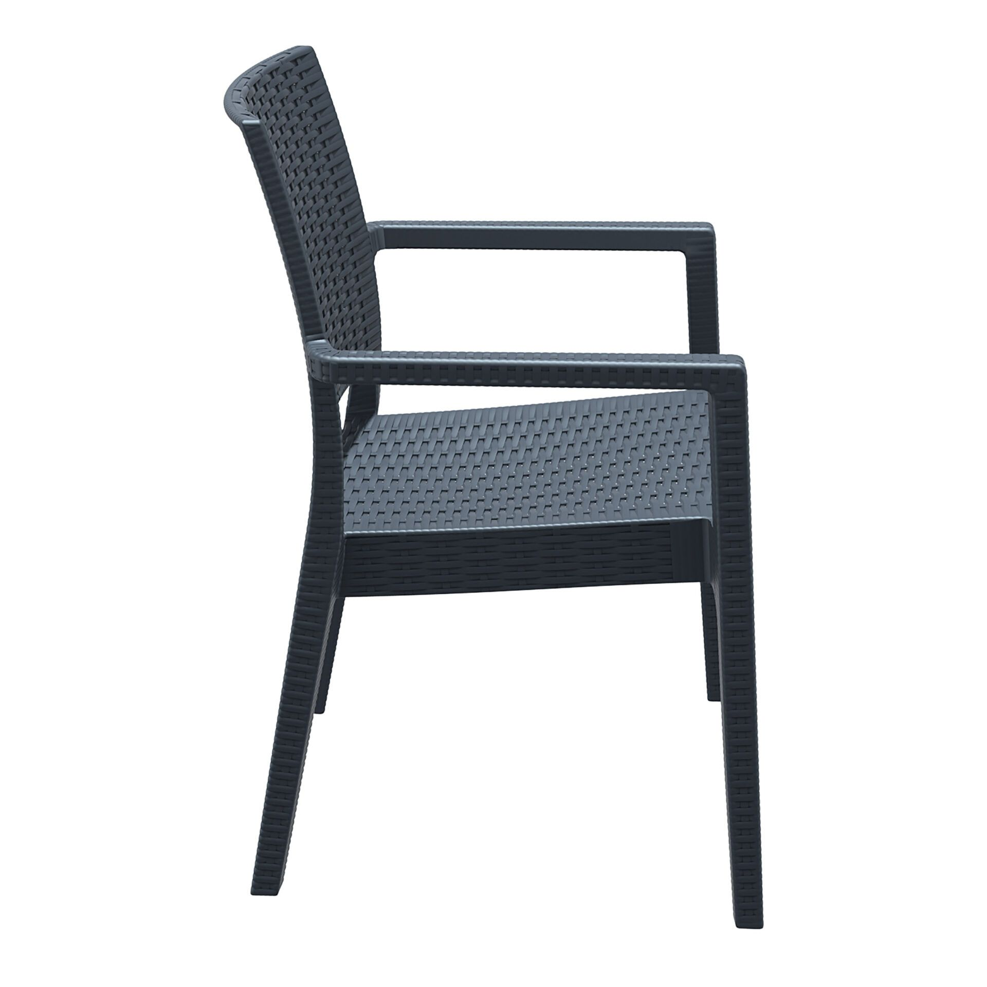 outdoor seating resin rattan ibiza armchair darkgrey side