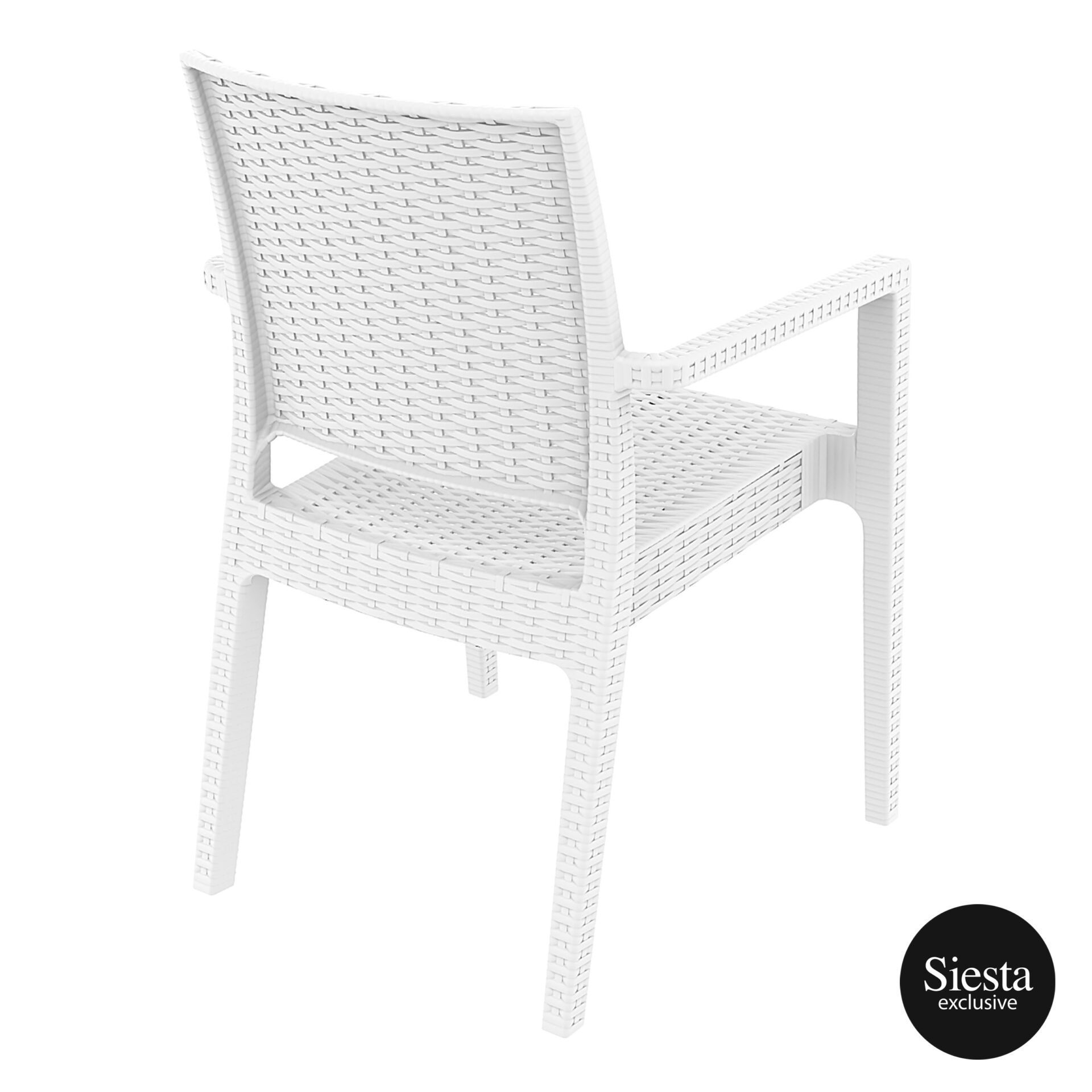 outdoor seating resin rattan ibiza armchair white back side 1