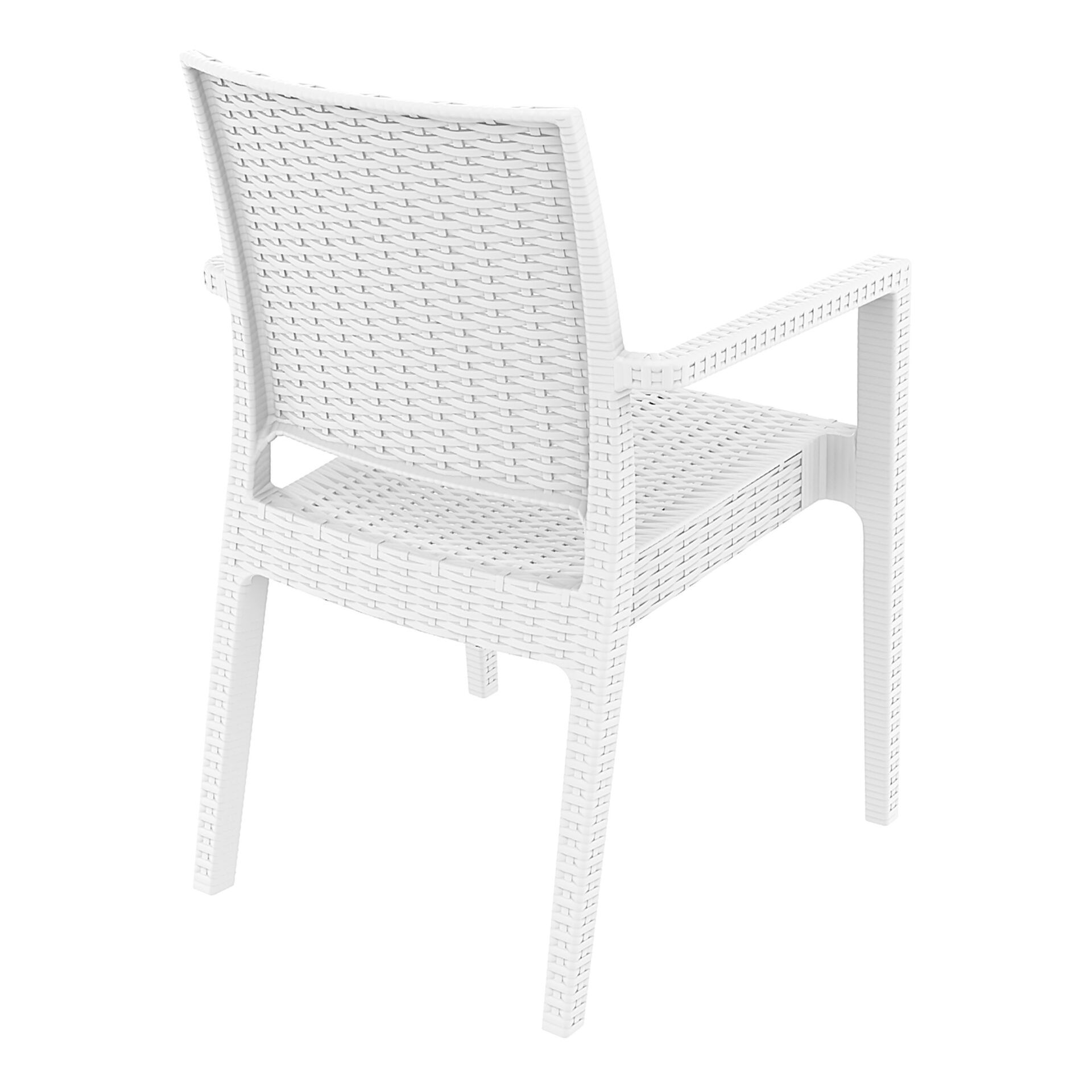 outdoor seating resin rattan ibiza armchair white back side