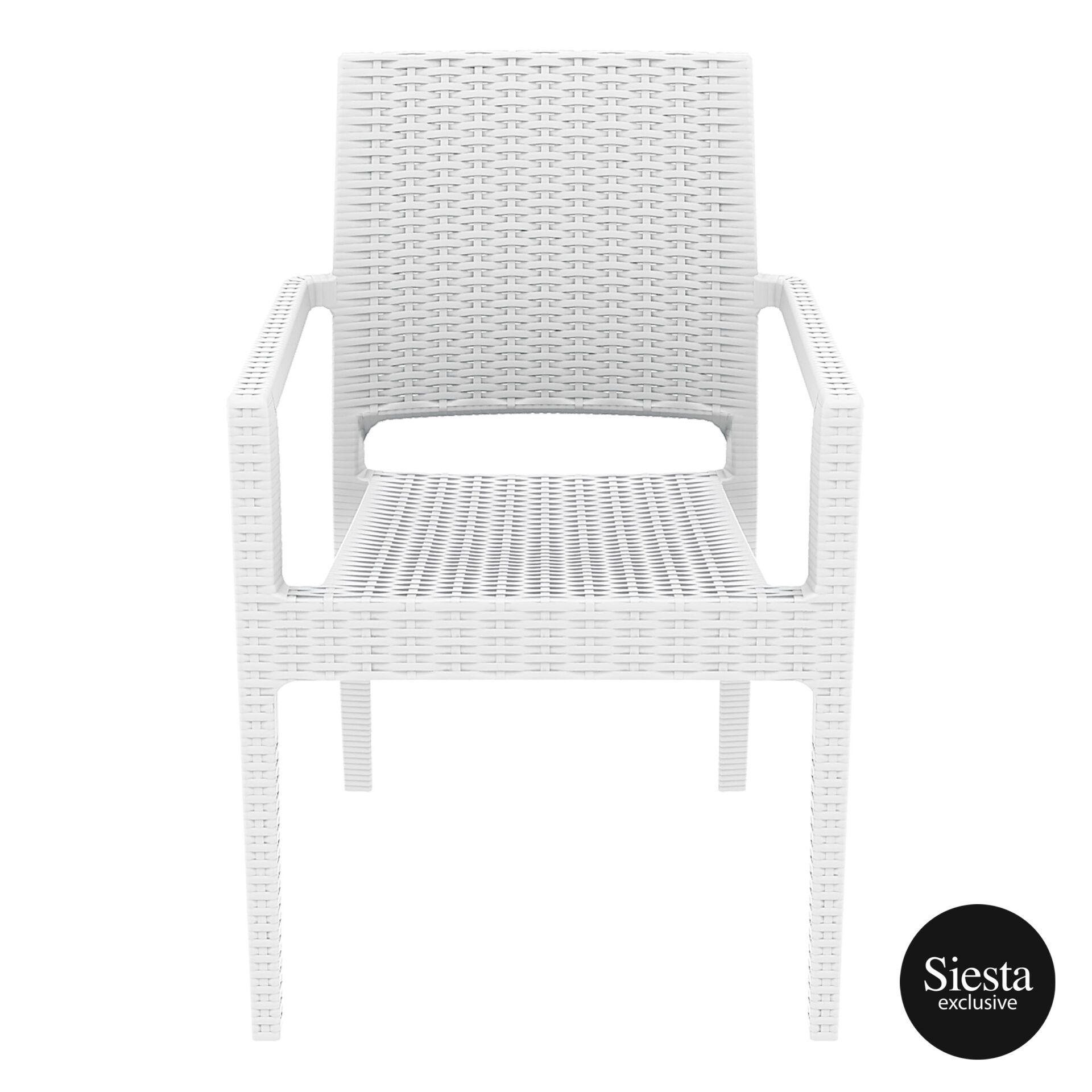 outdoor seating resin rattan ibiza armchair white front 1