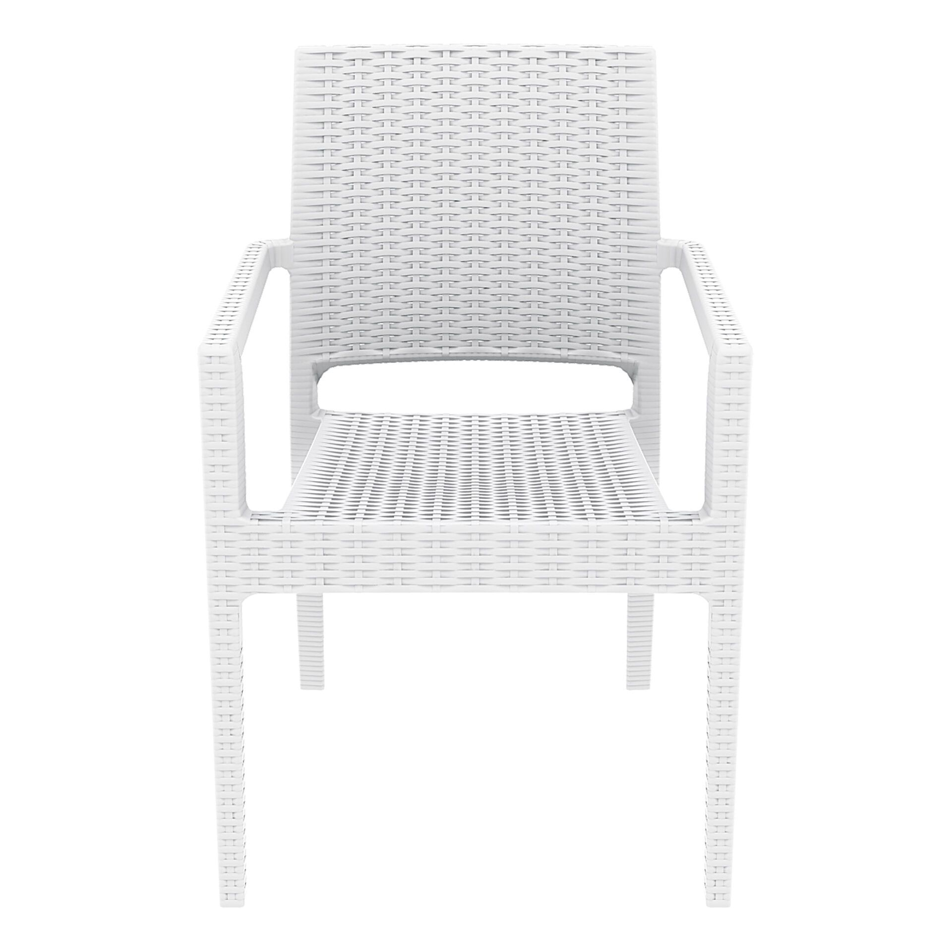 outdoor seating resin rattan ibiza armchair white front