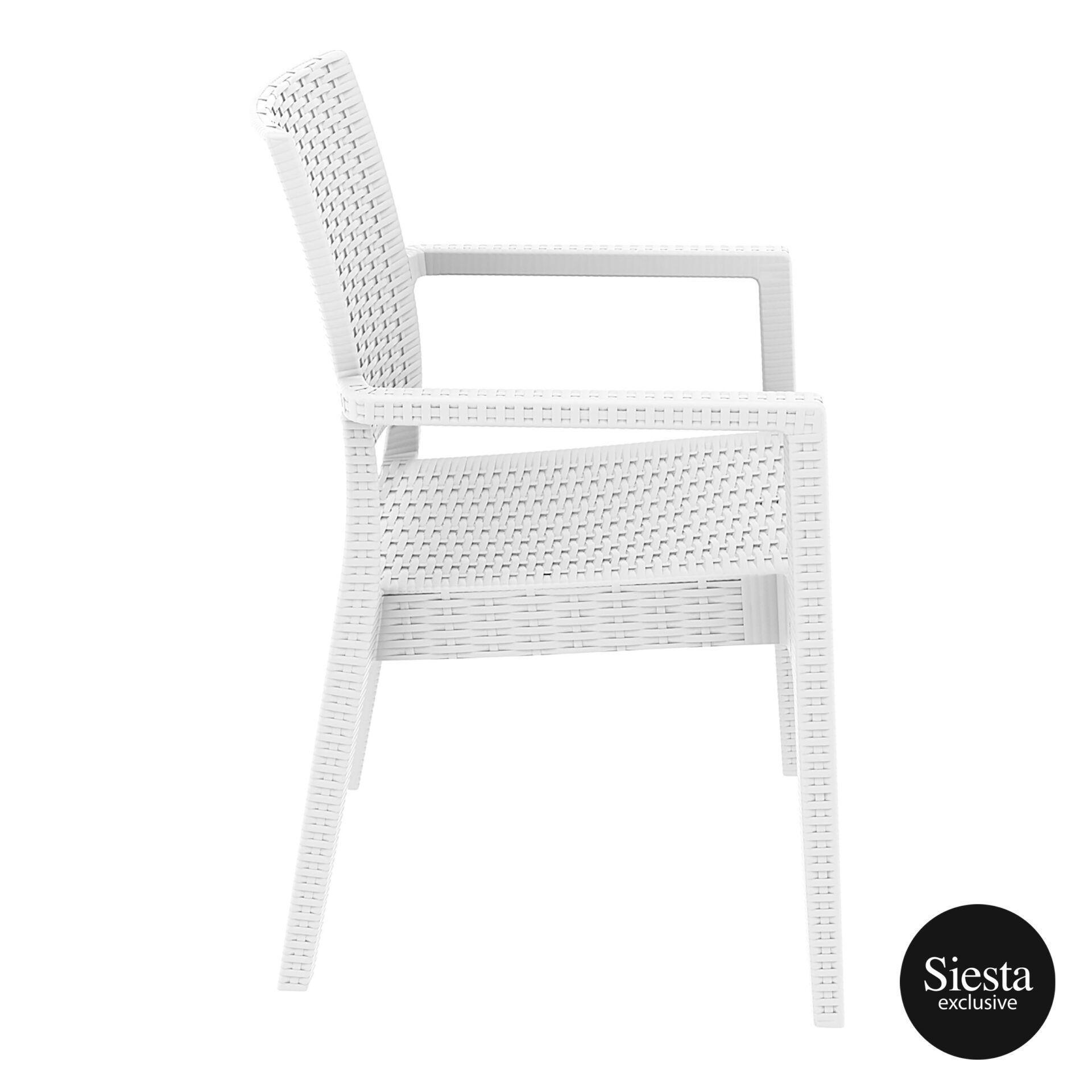 outdoor seating resin rattan ibiza armchair white side 1