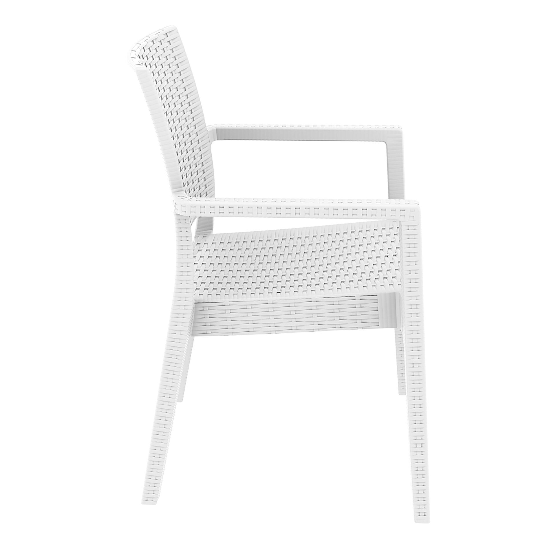 outdoor seating resin rattan ibiza armchair white side