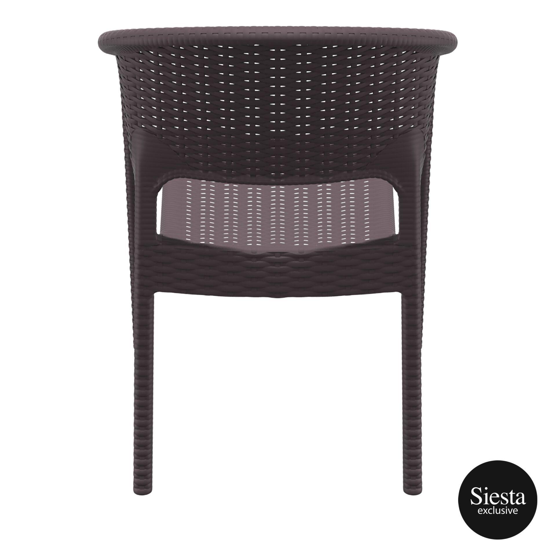 outdoor seating resin rattan panama armchair brown back 1