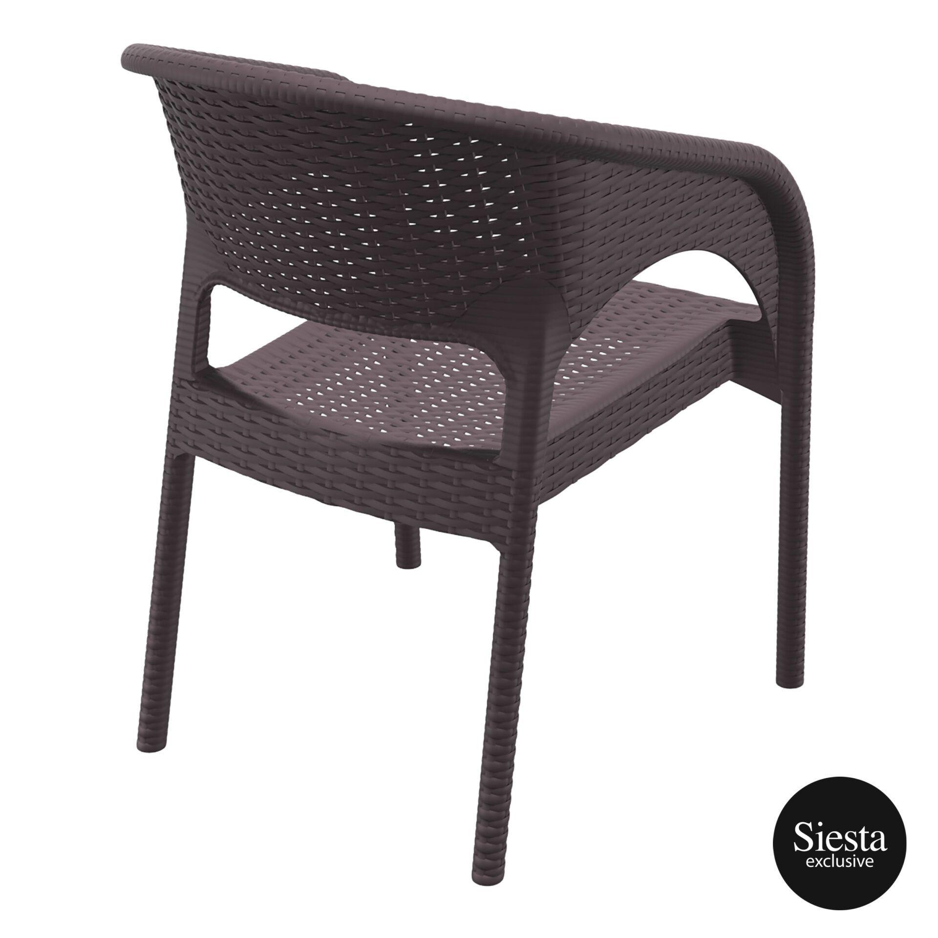 outdoor seating resin rattan panama armchair brown back side 1