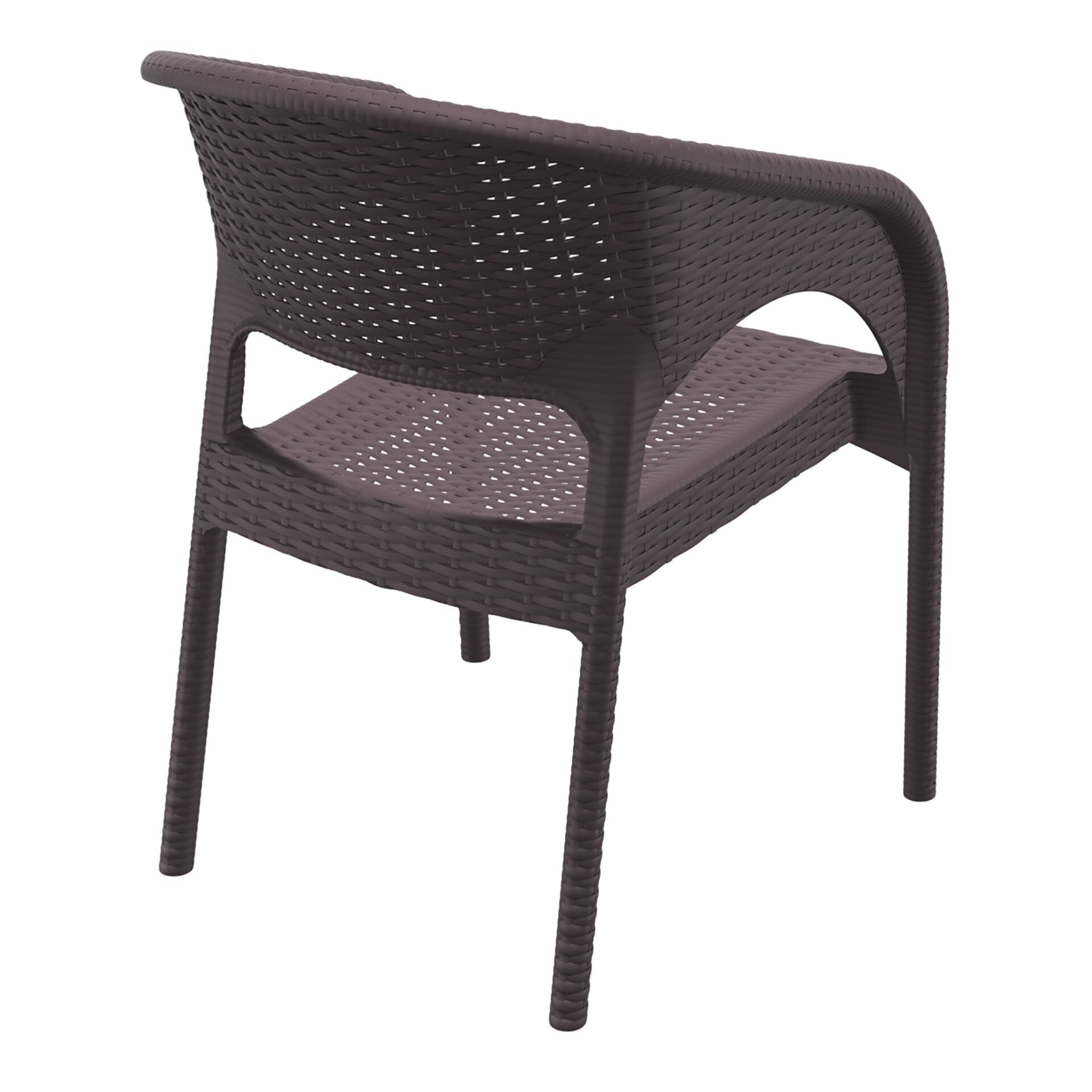 outdoor seating resin rattan panama armchair brown back side