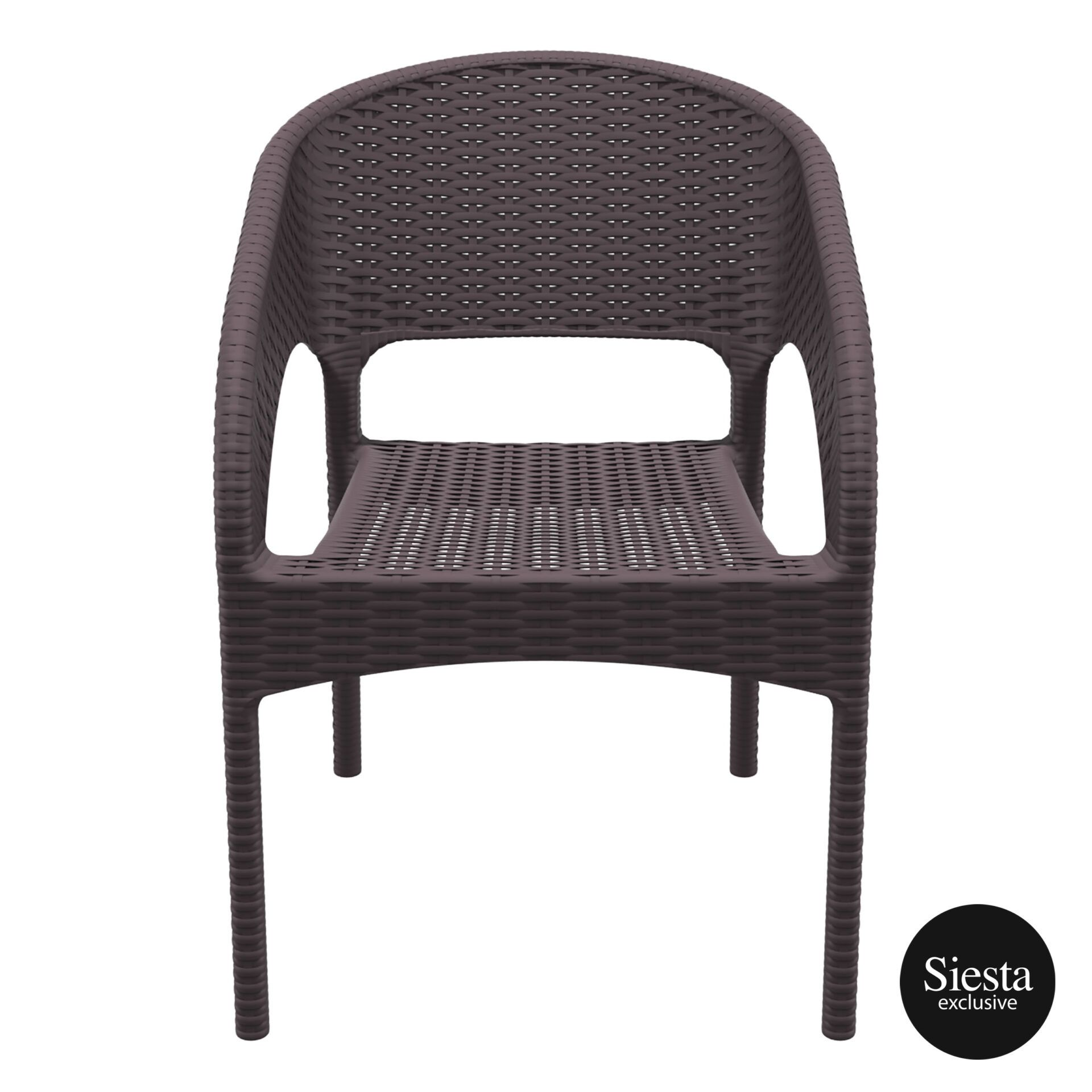 outdoor seating resin rattan panama armchair brown front 1