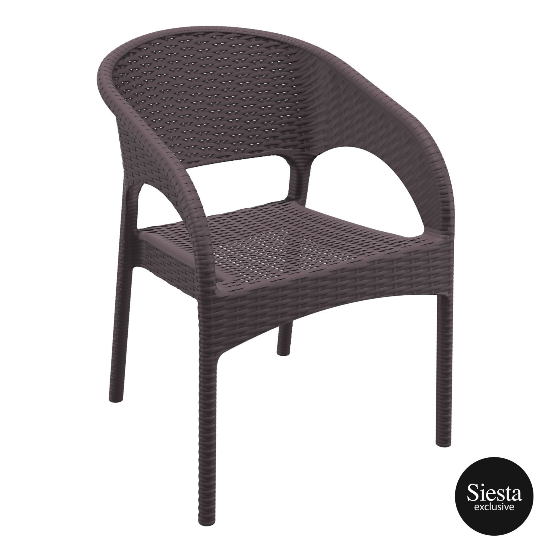 outdoor seating resin rattan panama armchair brown front side 1