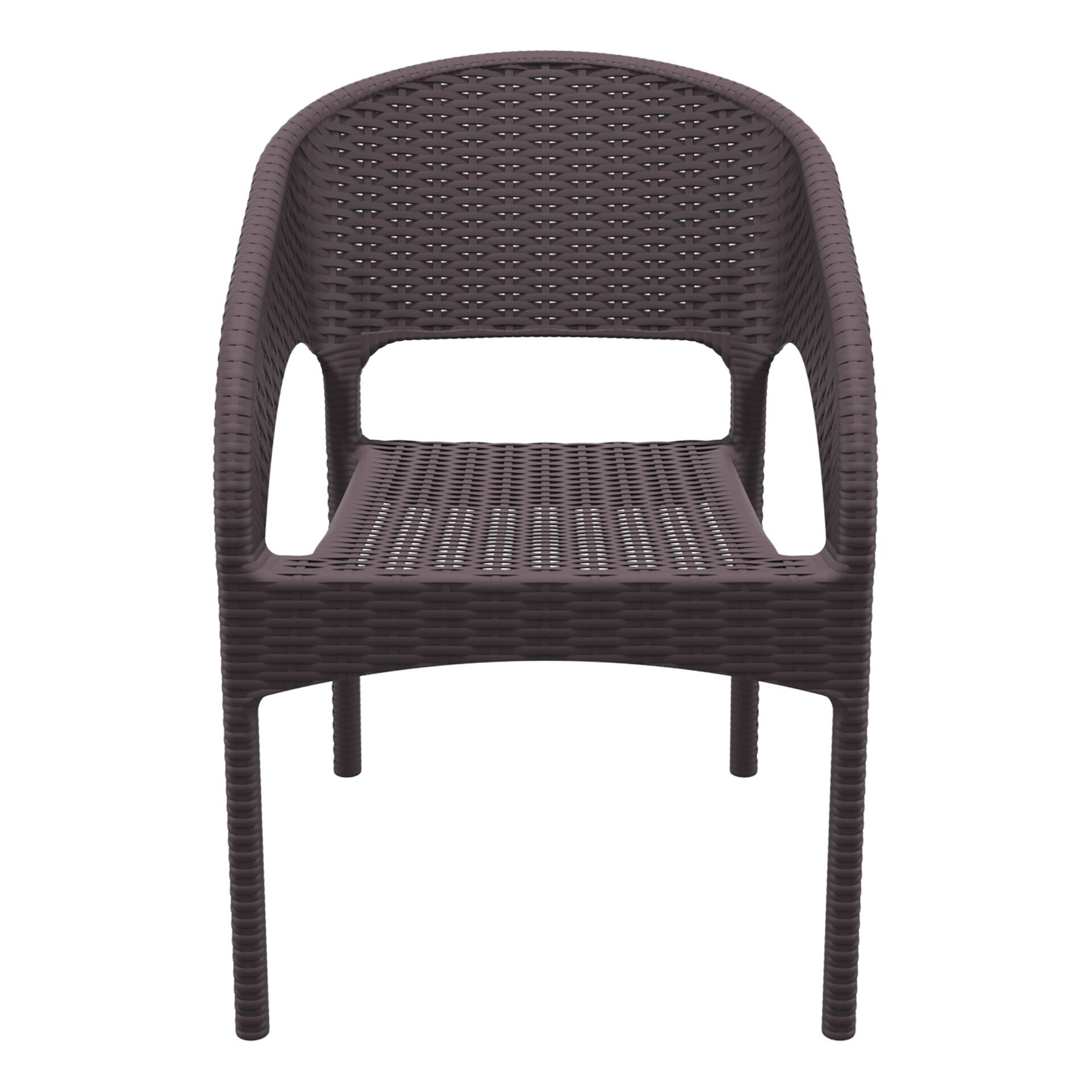 outdoor seating resin rattan panama armchair brown front