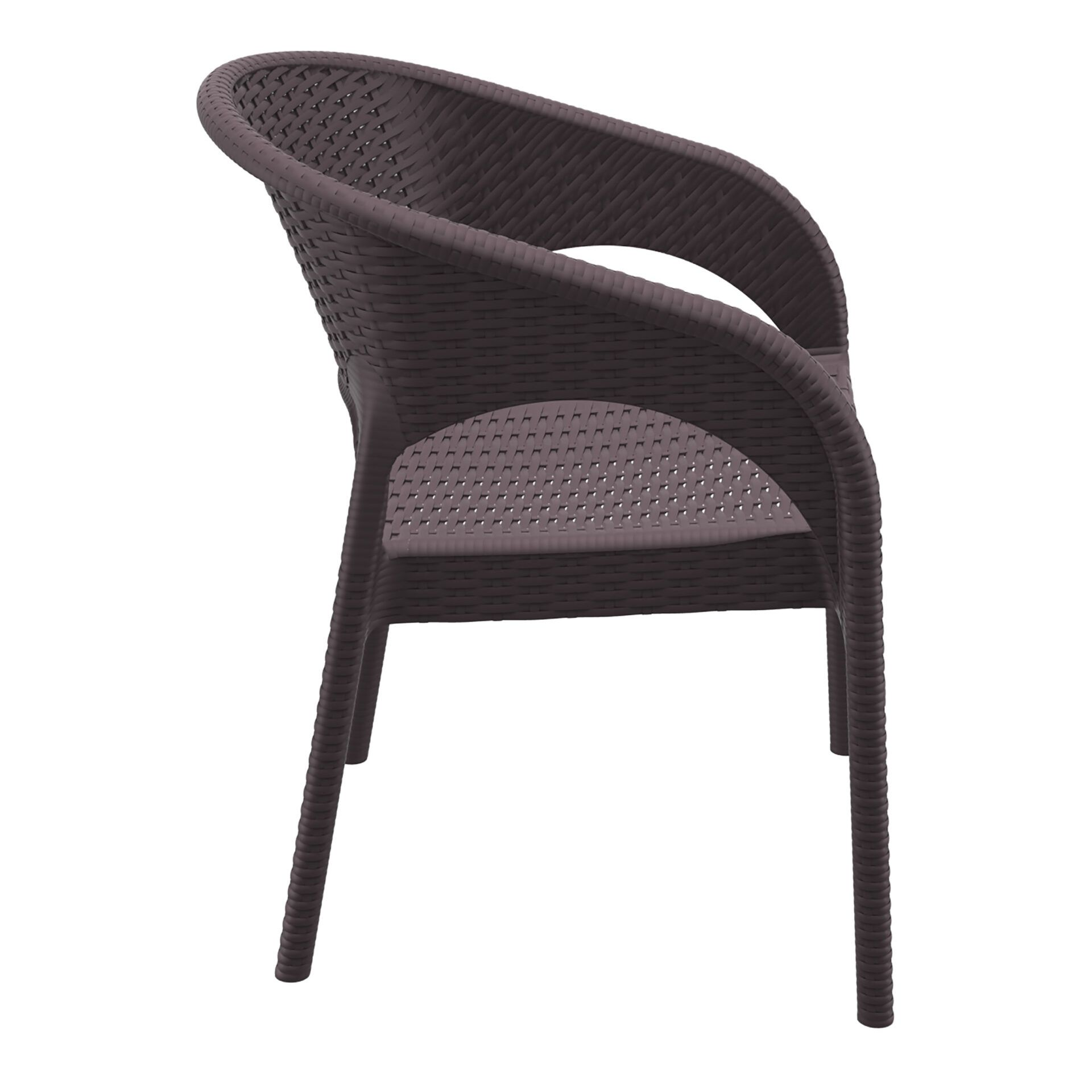 outdoor seating resin rattan panama armchair brown side