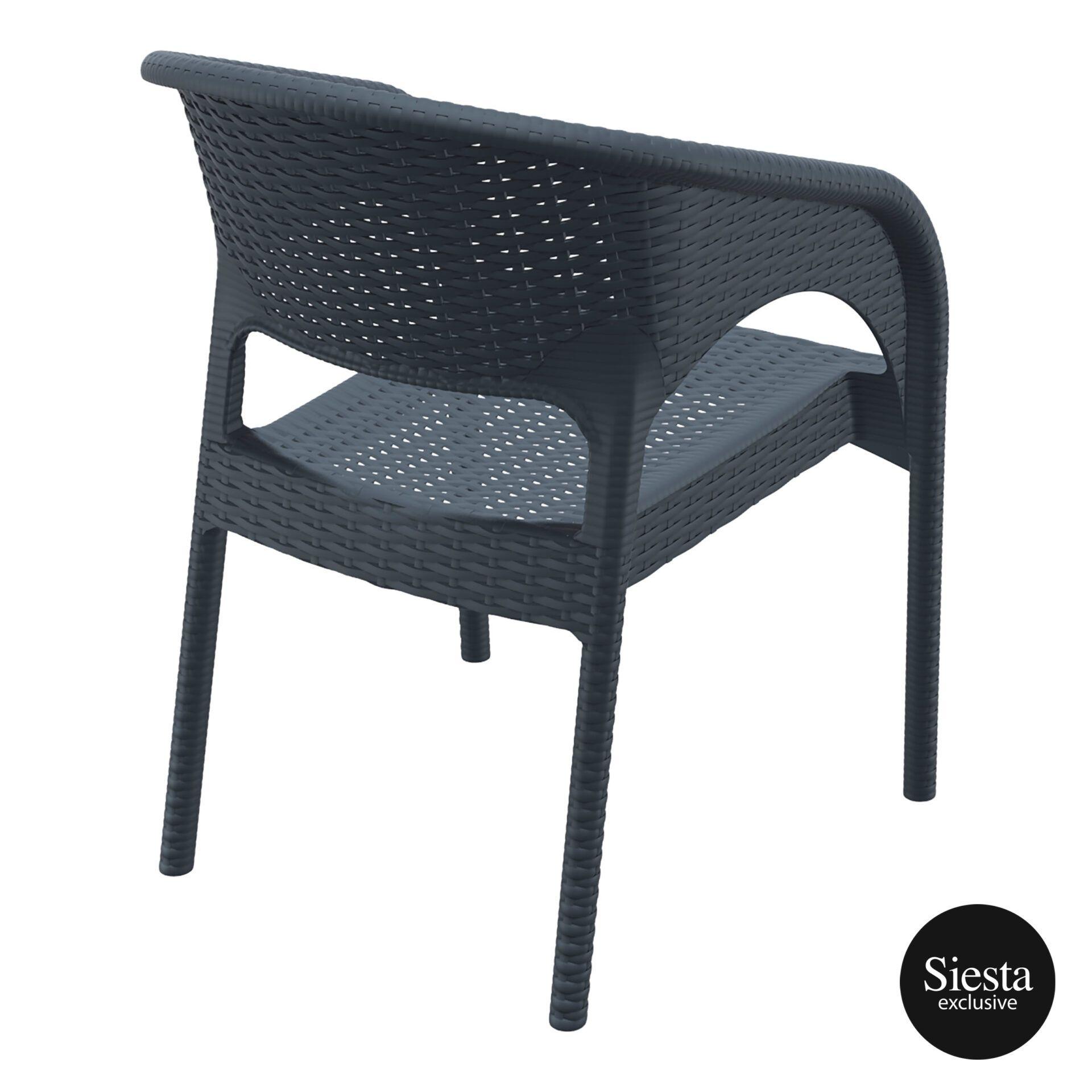 outdoor seating resin rattan panama armchair darkgrey back side 1