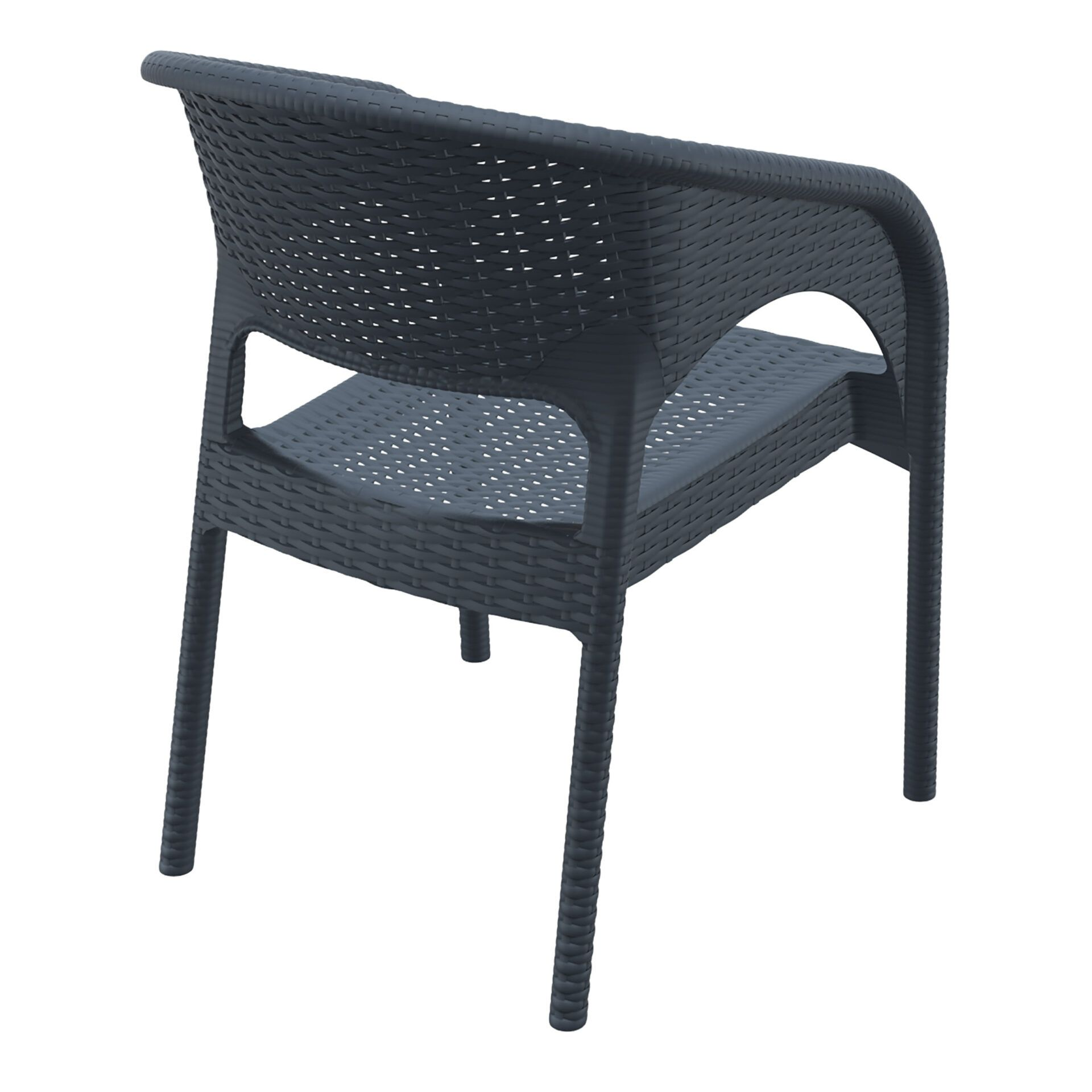 outdoor seating resin rattan panama armchair darkgrey back side
