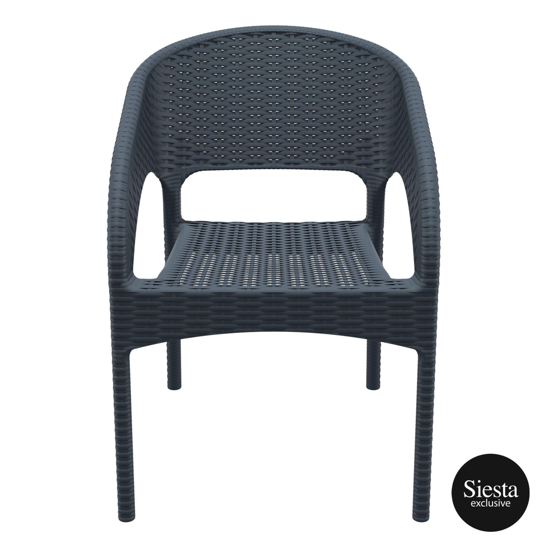 outdoor seating resin rattan panama armchair darkgrey front 1