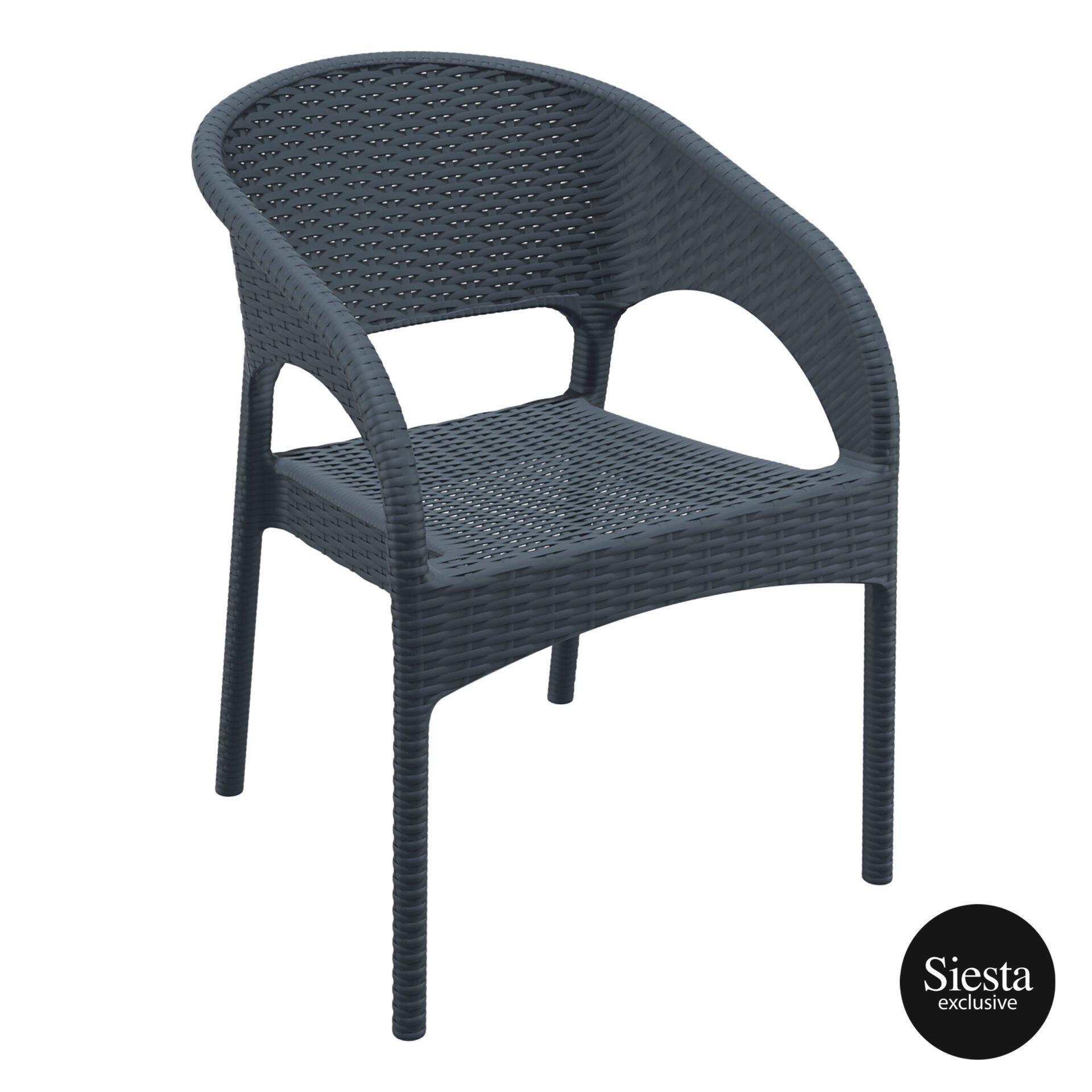 outdoor seating resin rattan panama armchair darkgrey front side 1