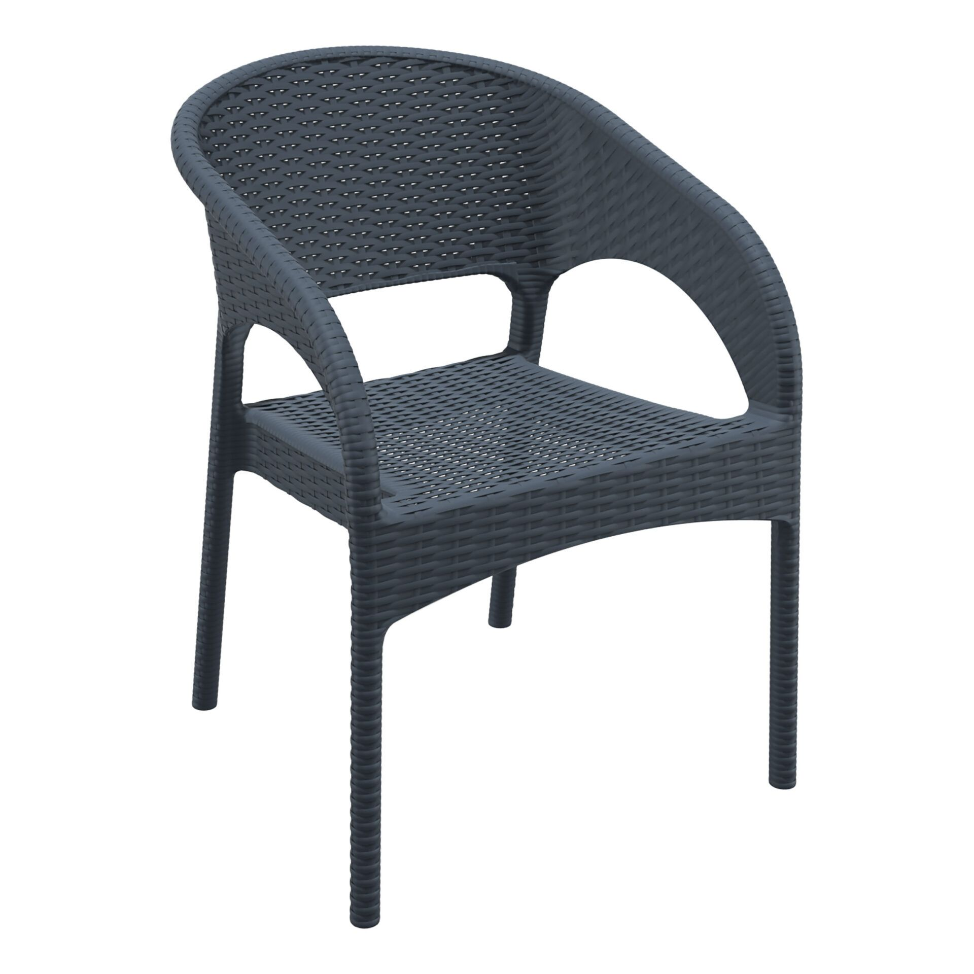 outdoor seating resin rattan panama armchair darkgrey front side